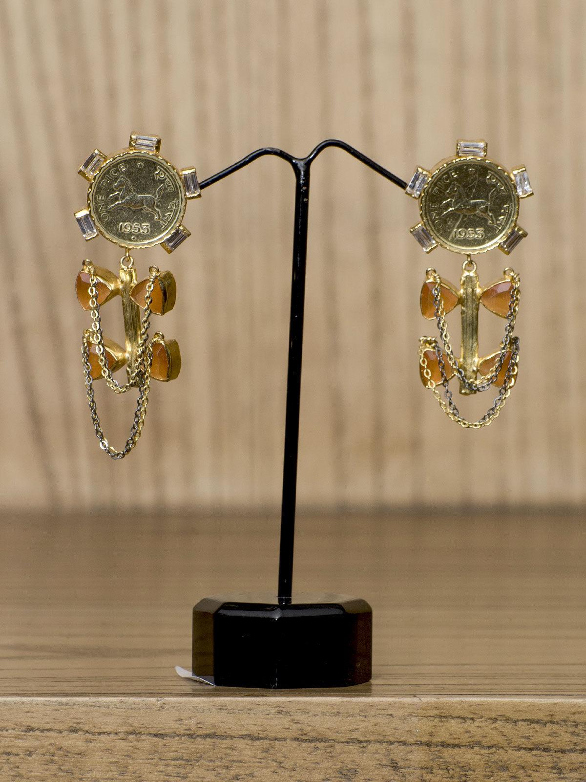 Indian Augst goden semi-precious jhumka earrings