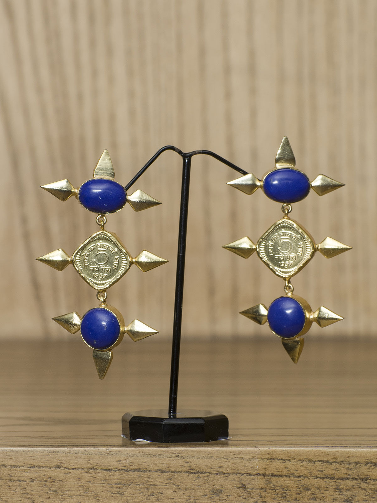 Indian August blue stone studded long earrings