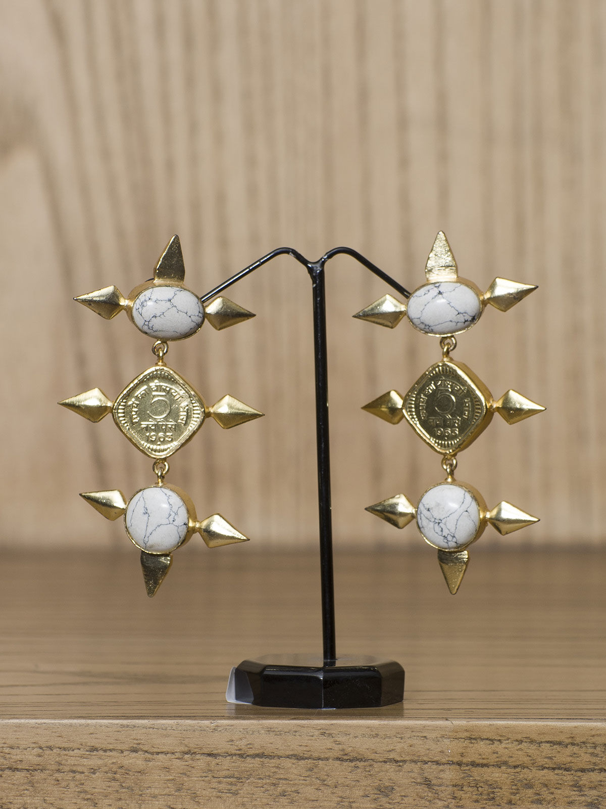 Indian August white stone studded semi-precious long earrings
