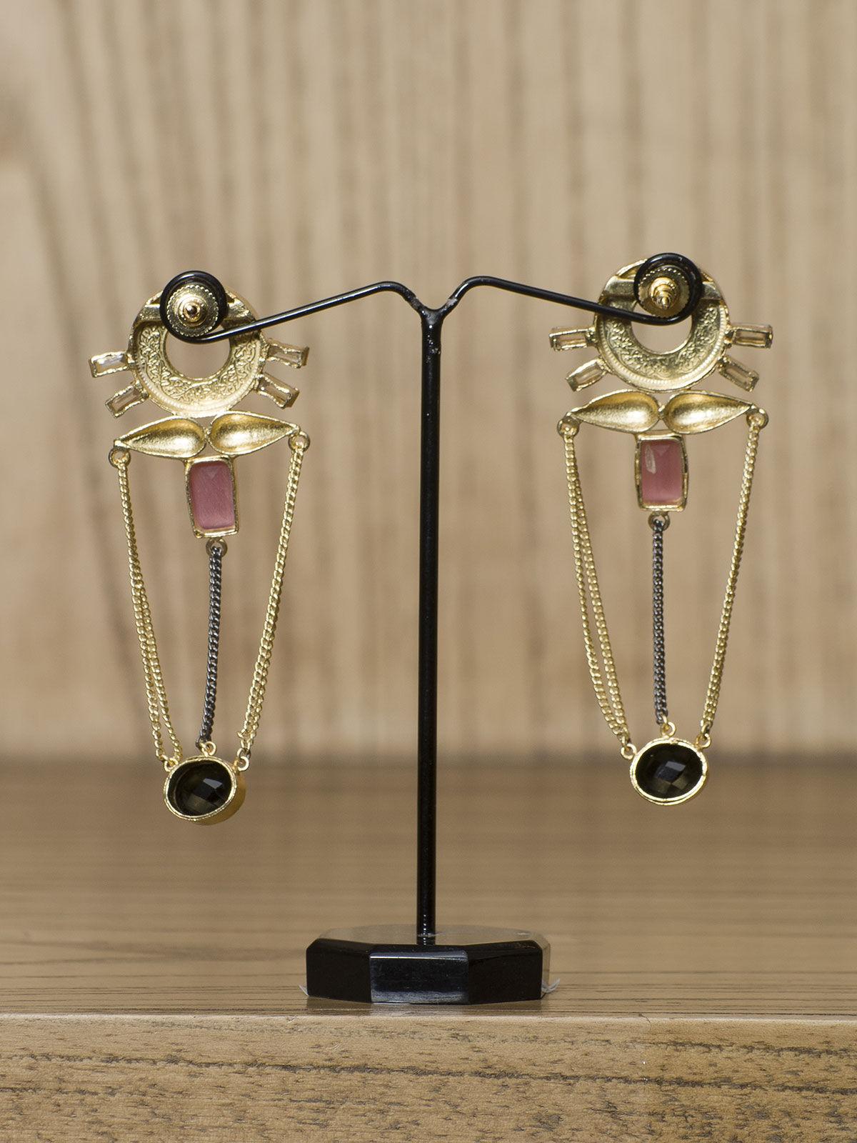 Indian August black pink stone semi-precious metal long earrings