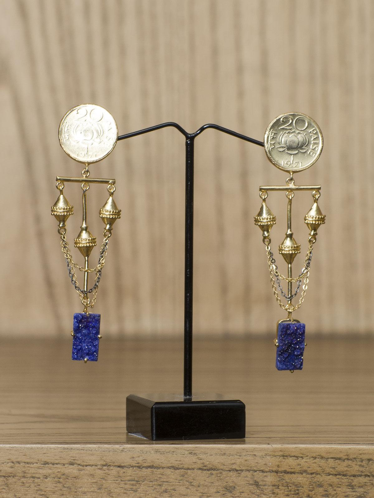 Indian August blue stones semi-precious metal long earrings