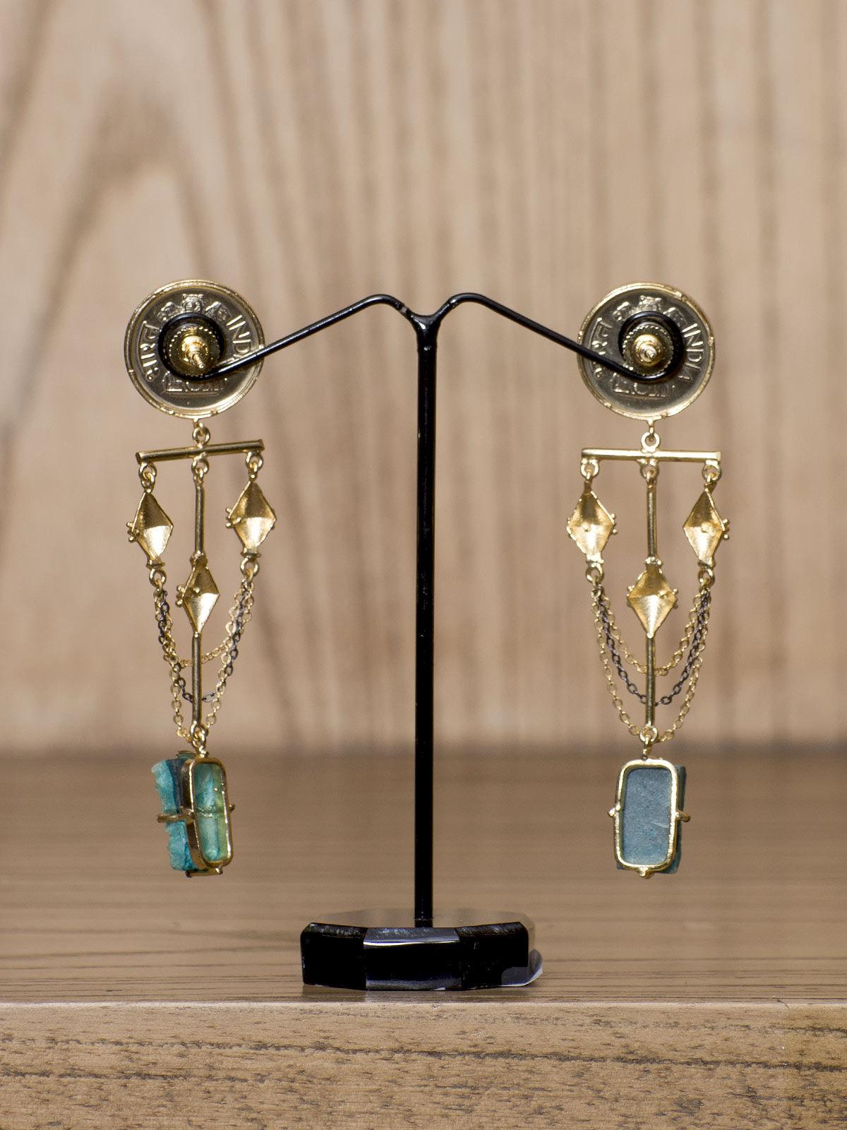 Indian August semi-precious stones metal studded long earrings