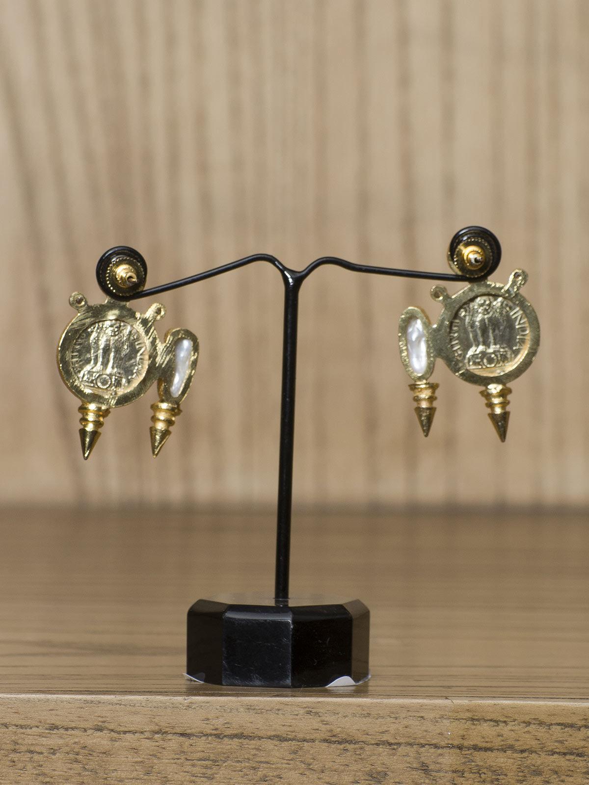 Indian August round shaped semi-precious metal earrings