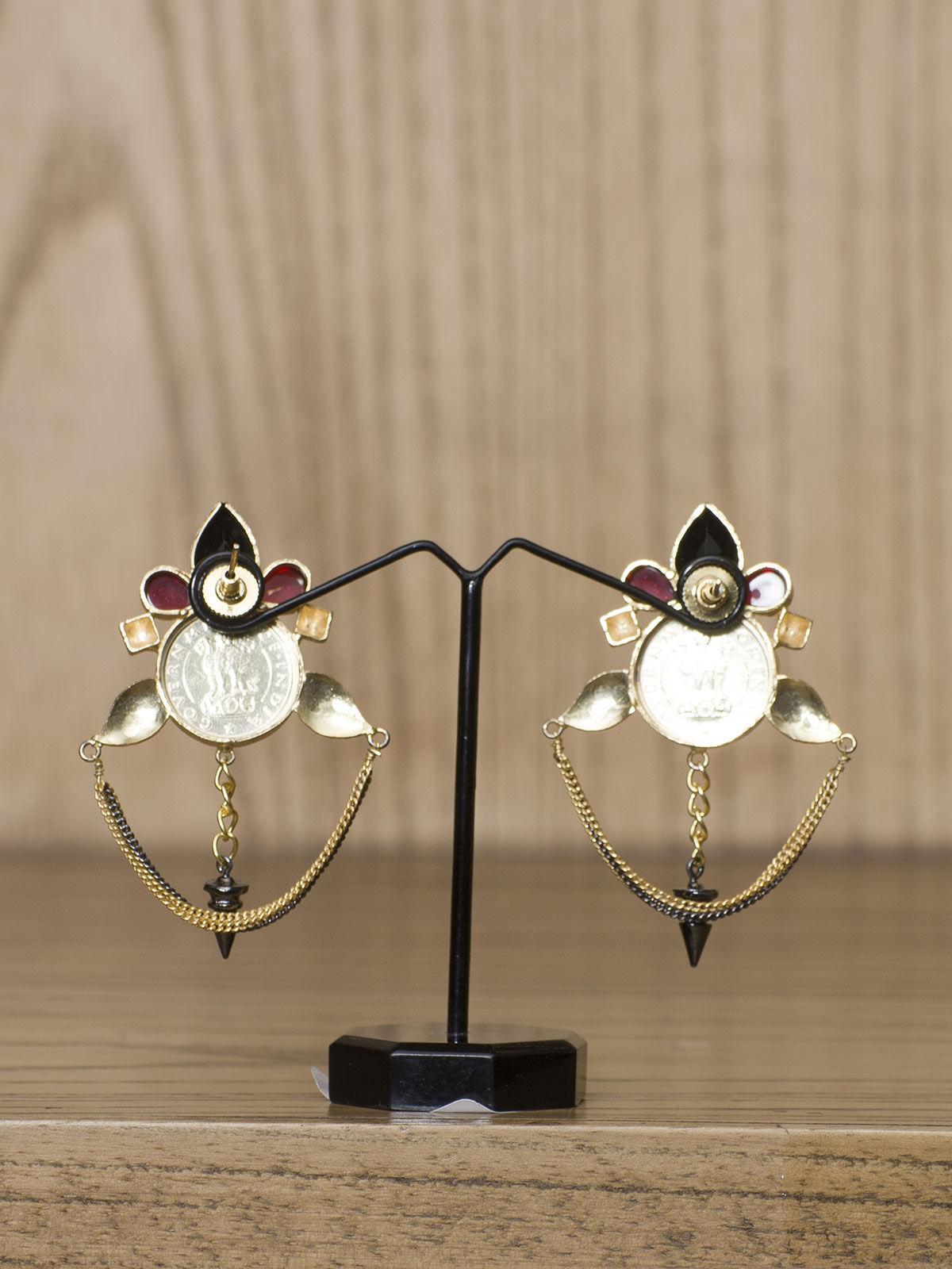Indian August star shaped semi-precious metal earrings
