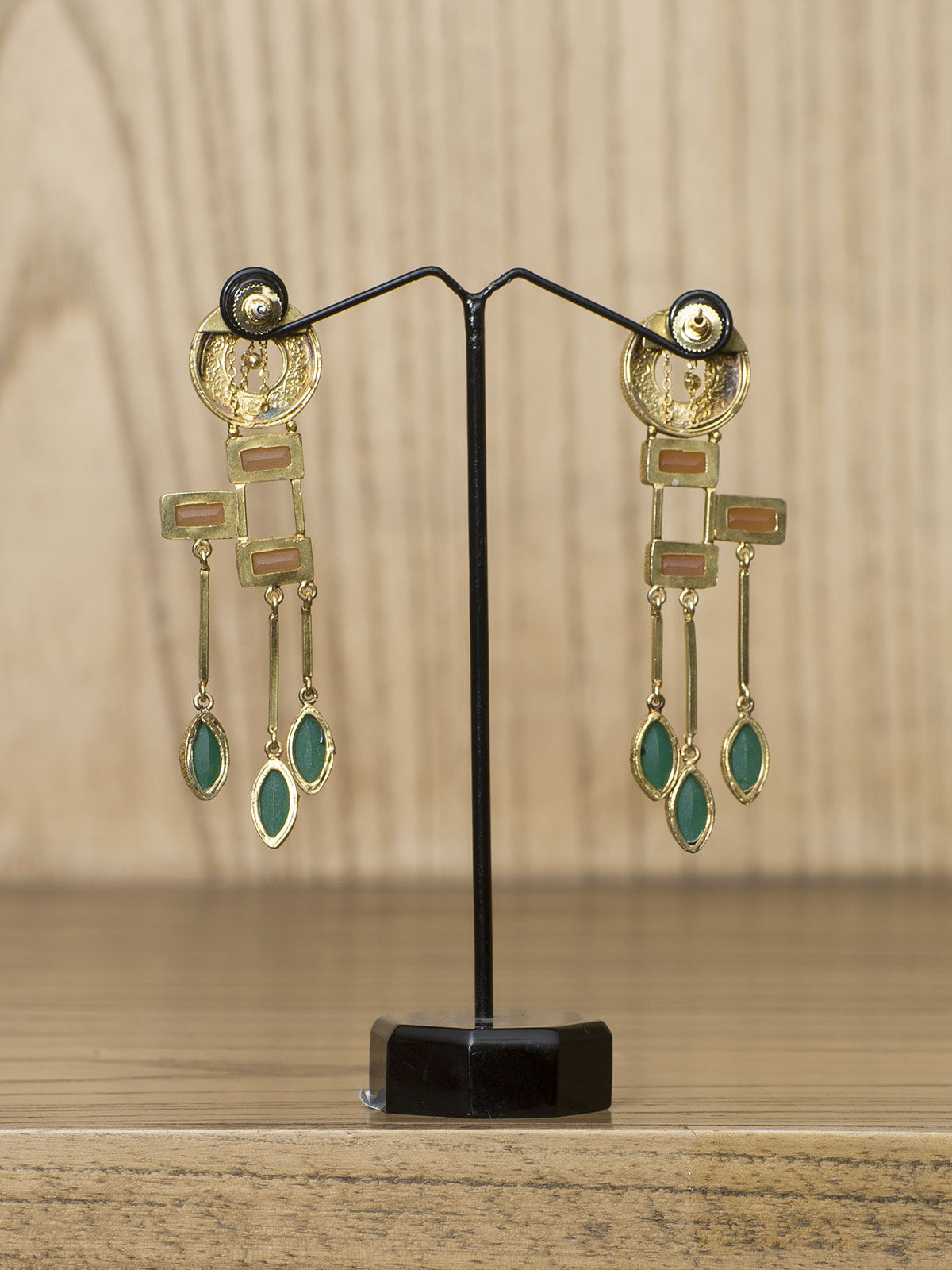 Indian August Golden semi-precious metal Ear Cuff  with studded stones