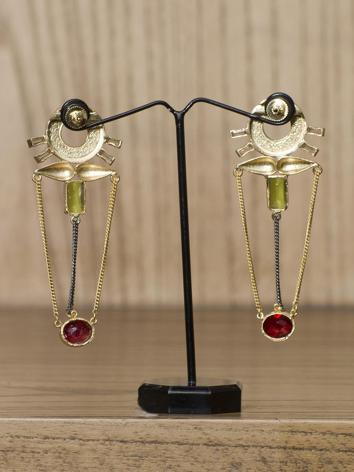 Indian August Red Stone semi-precious long Earrings