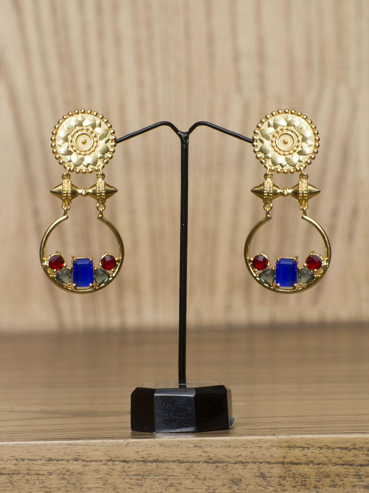 Indian August long semi-precious golden metal earrings