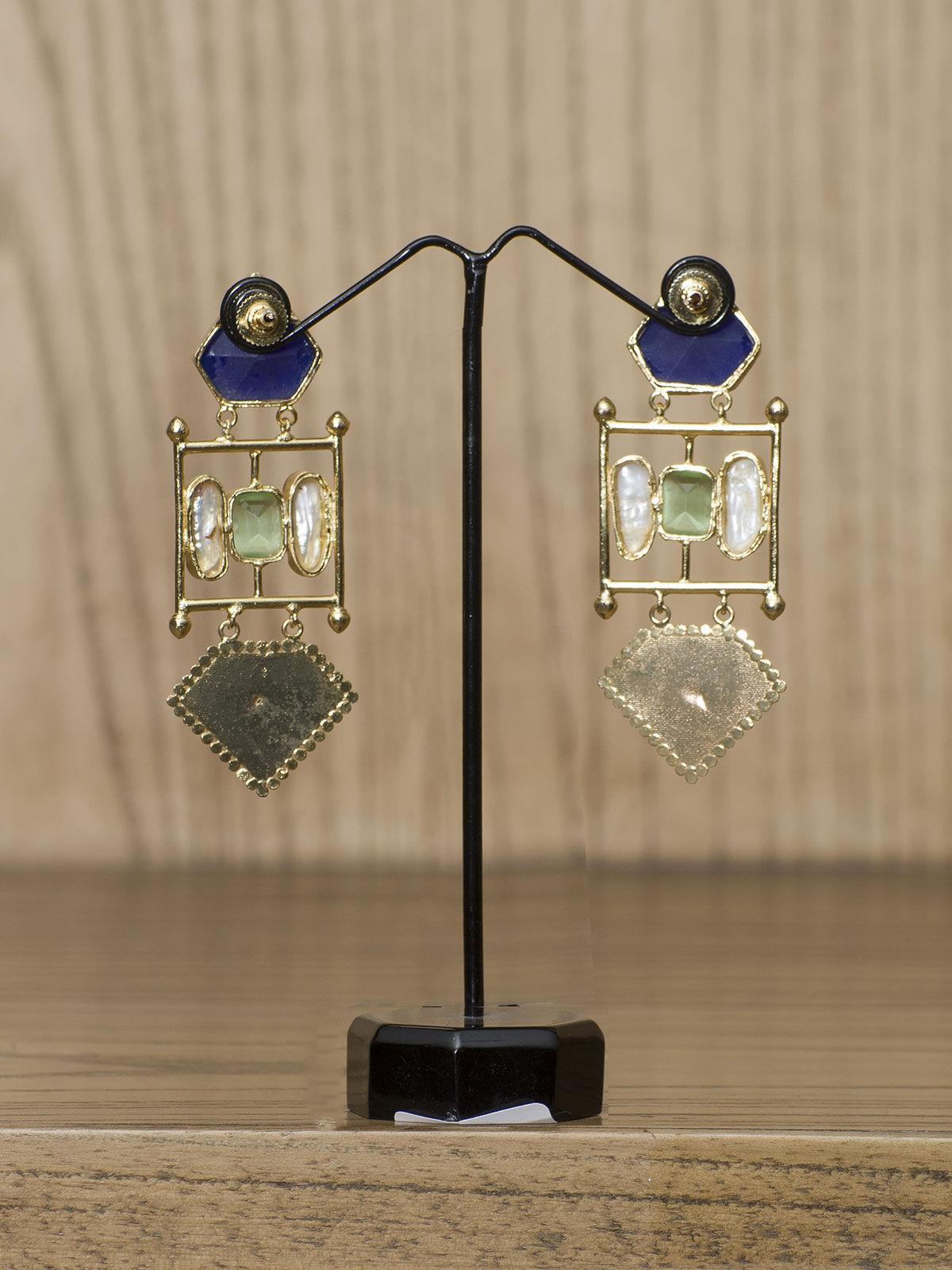 Indian August blue semi-precious stones metal  long earrings