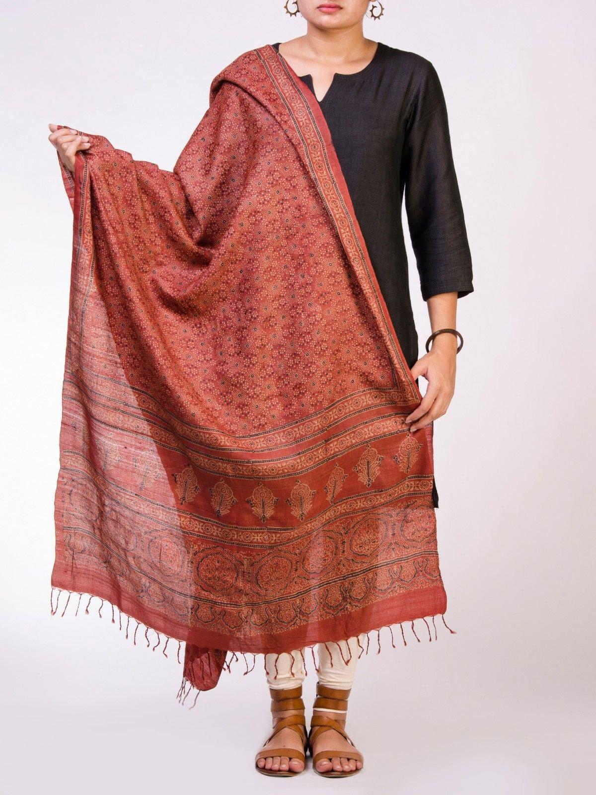 Maroon Block Print Tusser Silk Dupatta