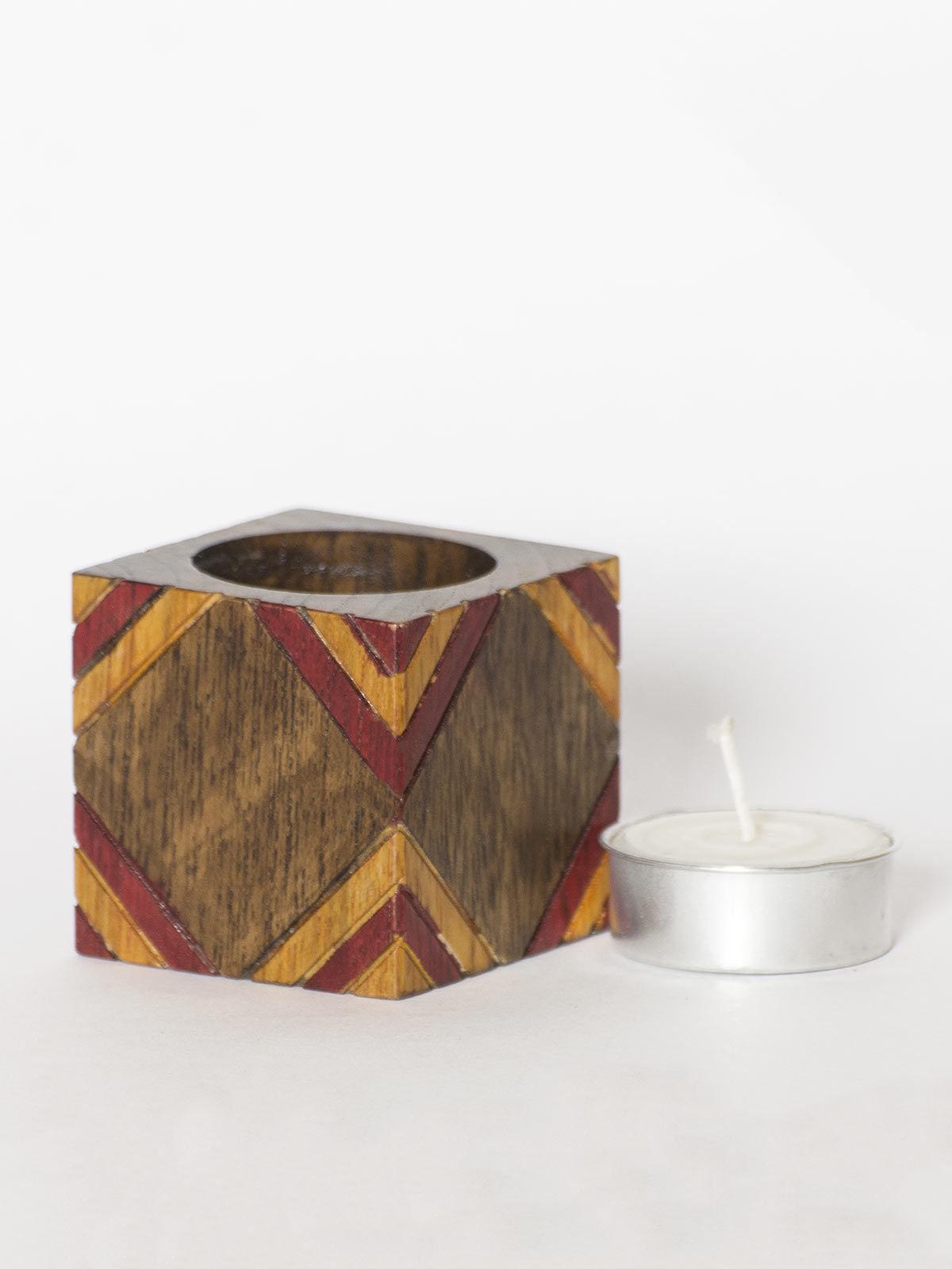 Brown Wooden Tea Light Holder