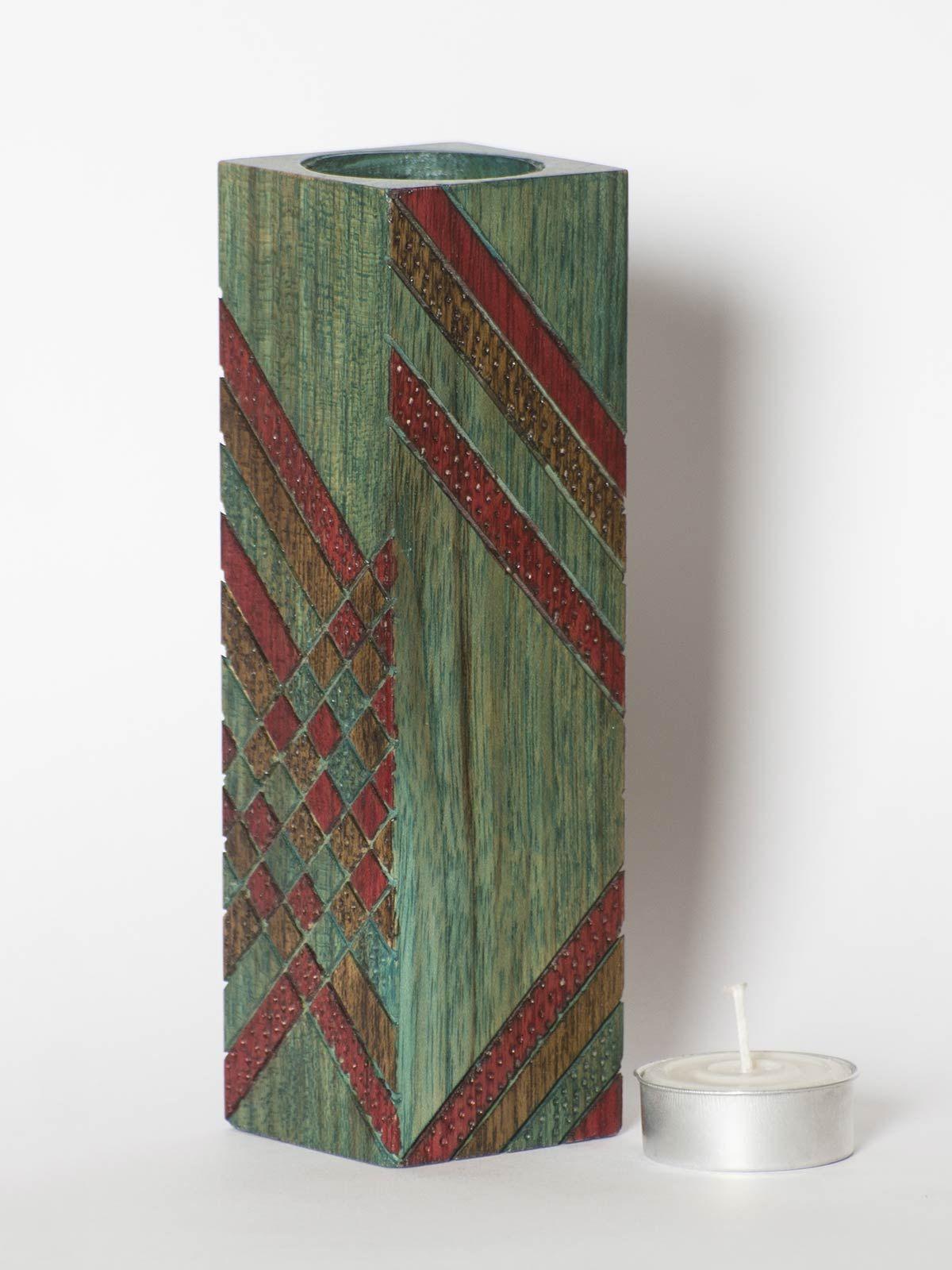 Green Wooden Long Tea Light Holder