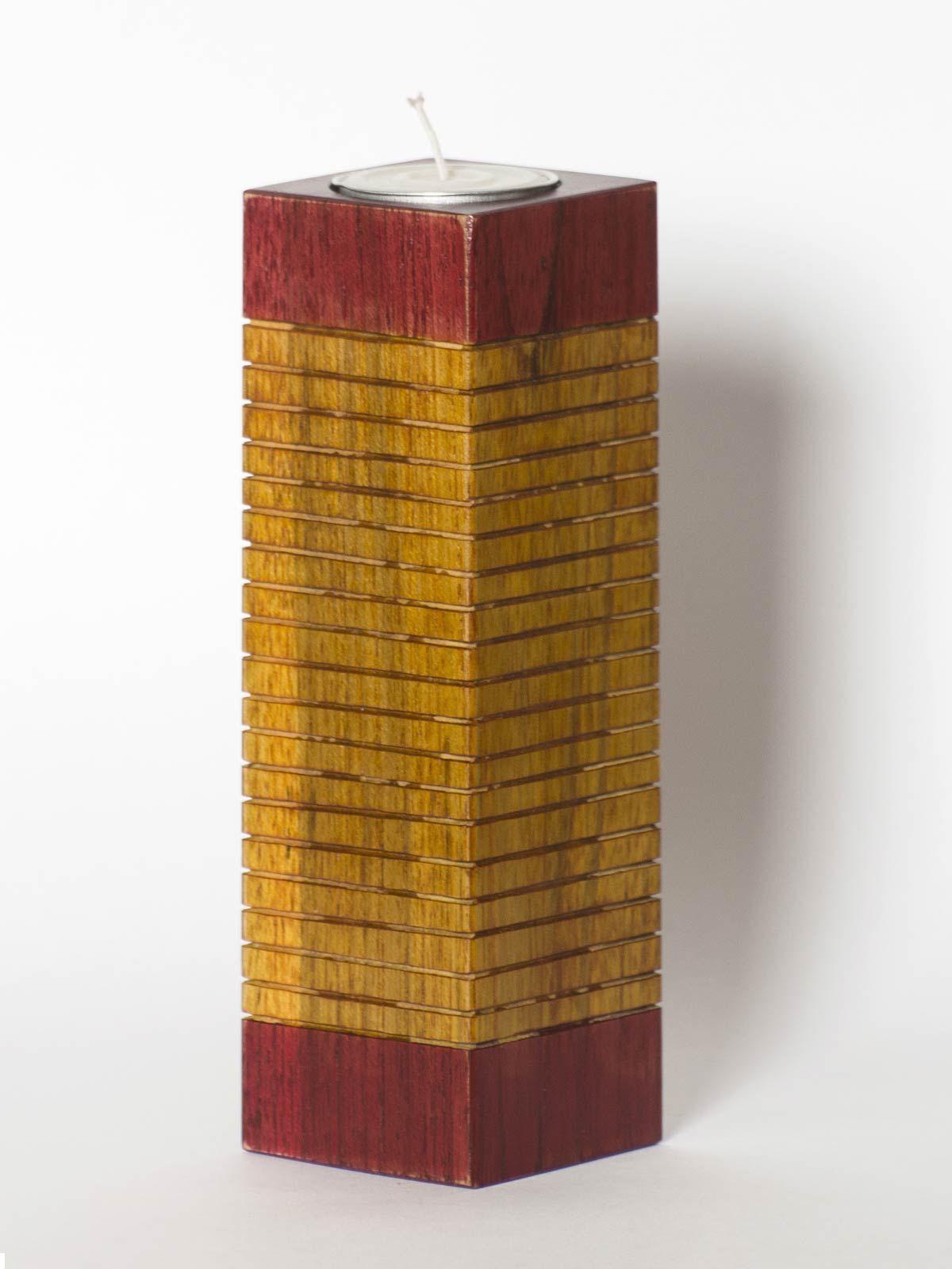 Yellow Wooden Long Tea Light Holder