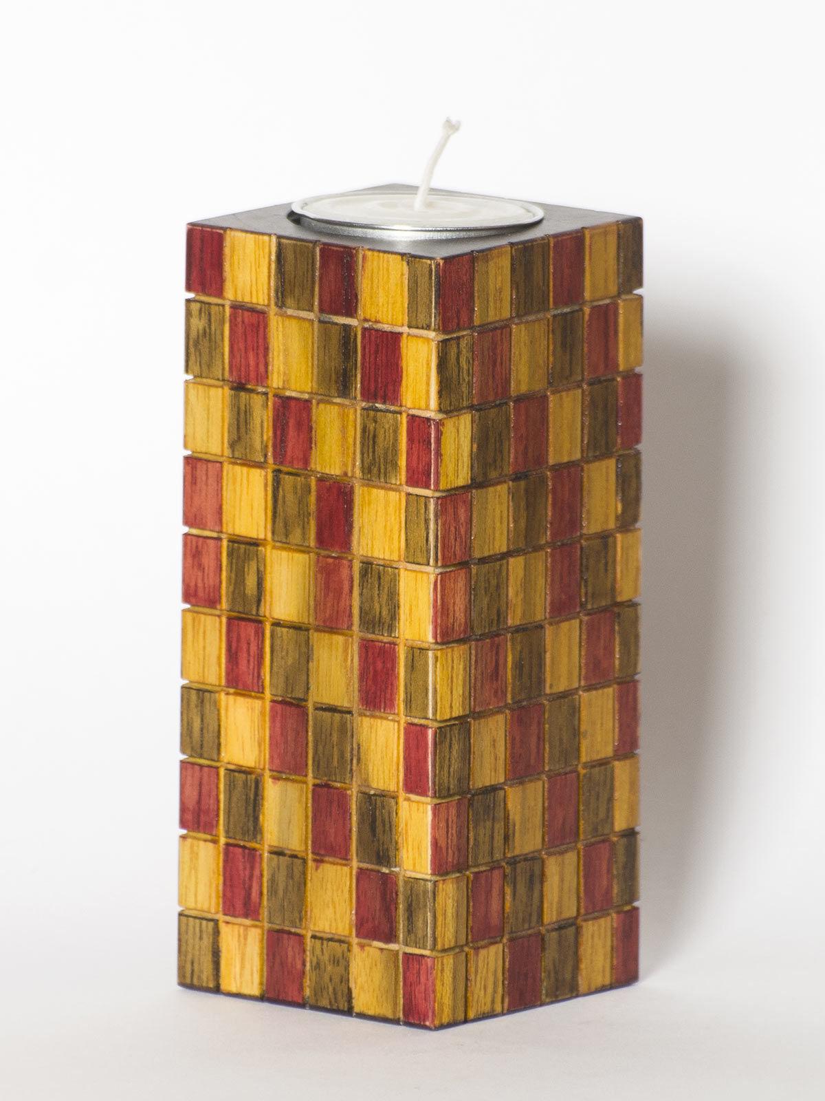 Brown Yellow Wooden Tea Light Holder