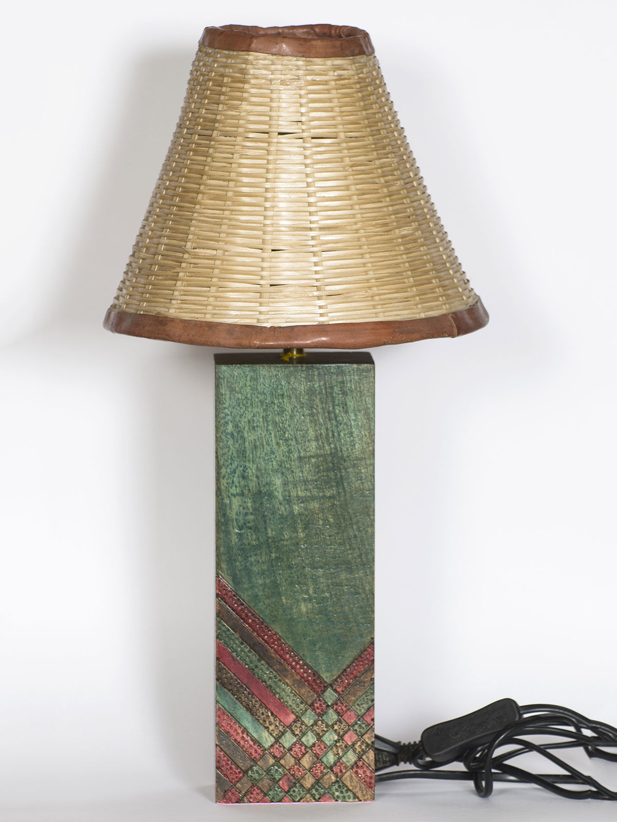Green Wood Base Madur Lampshade