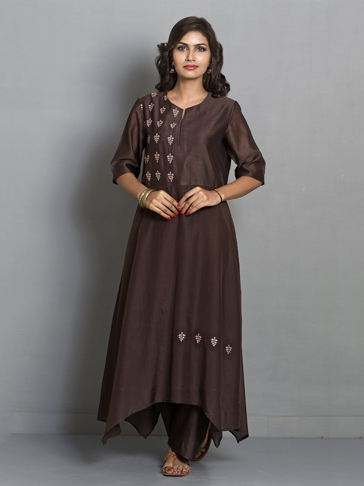 Chocolate Brown Flared Asymmetric Chanderi Tunic with Embroidered Motifs