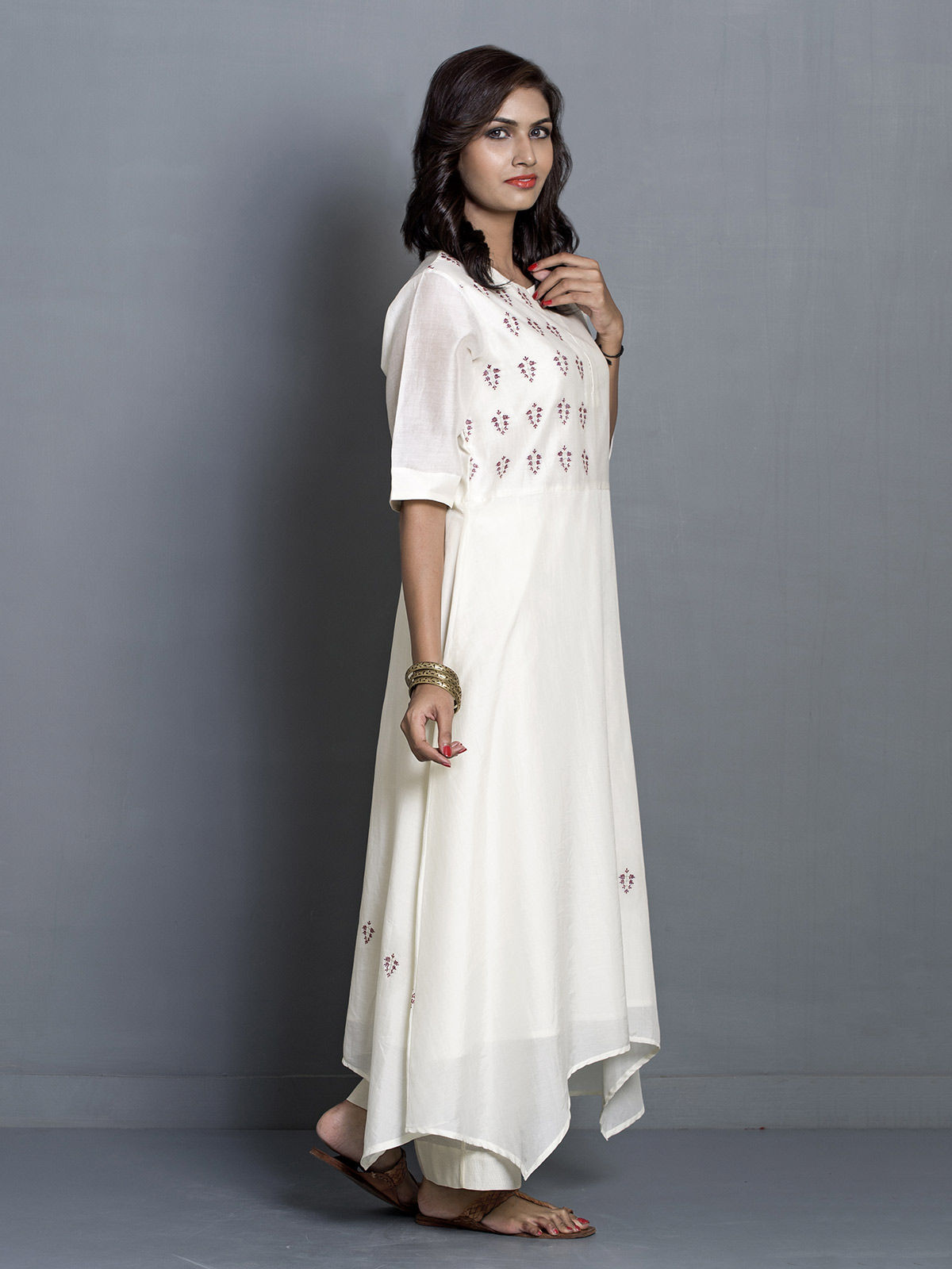 White Flared Asymmetric Chanderi Tunic with Embroidered Motifs