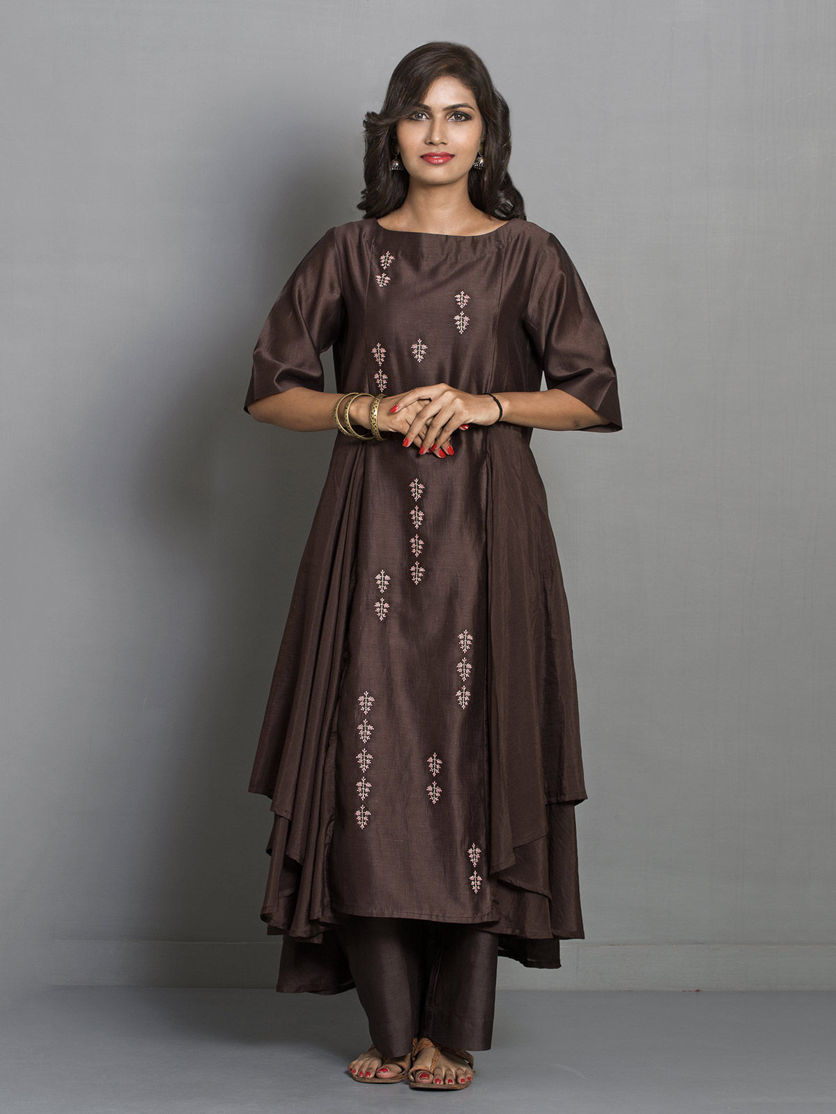 Chocolate Brown Flared Long Chanderi Tunic with Embroidered Motifs