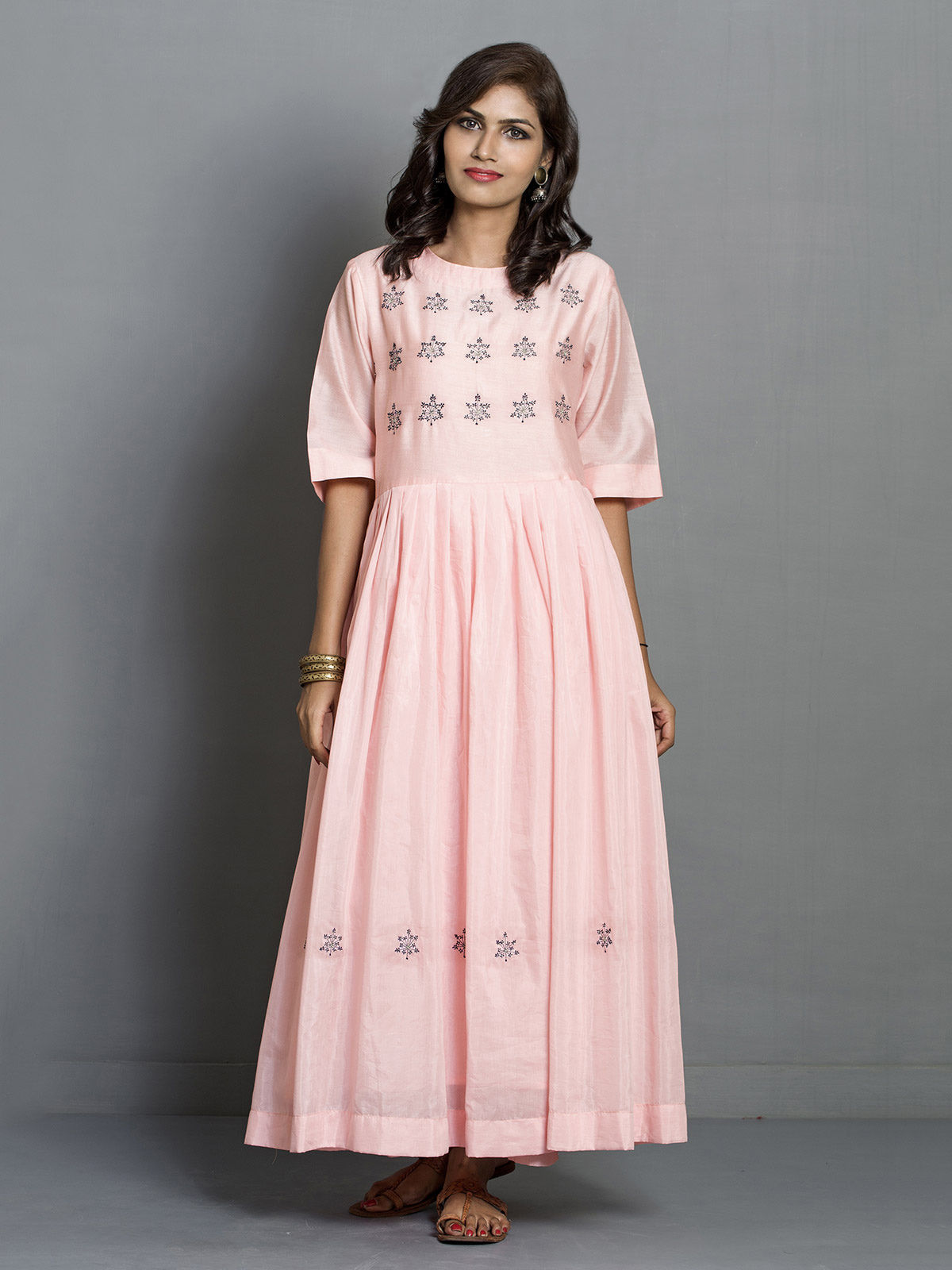 Peach Long Flared Chanderi Tunic with Embroidered Motifs