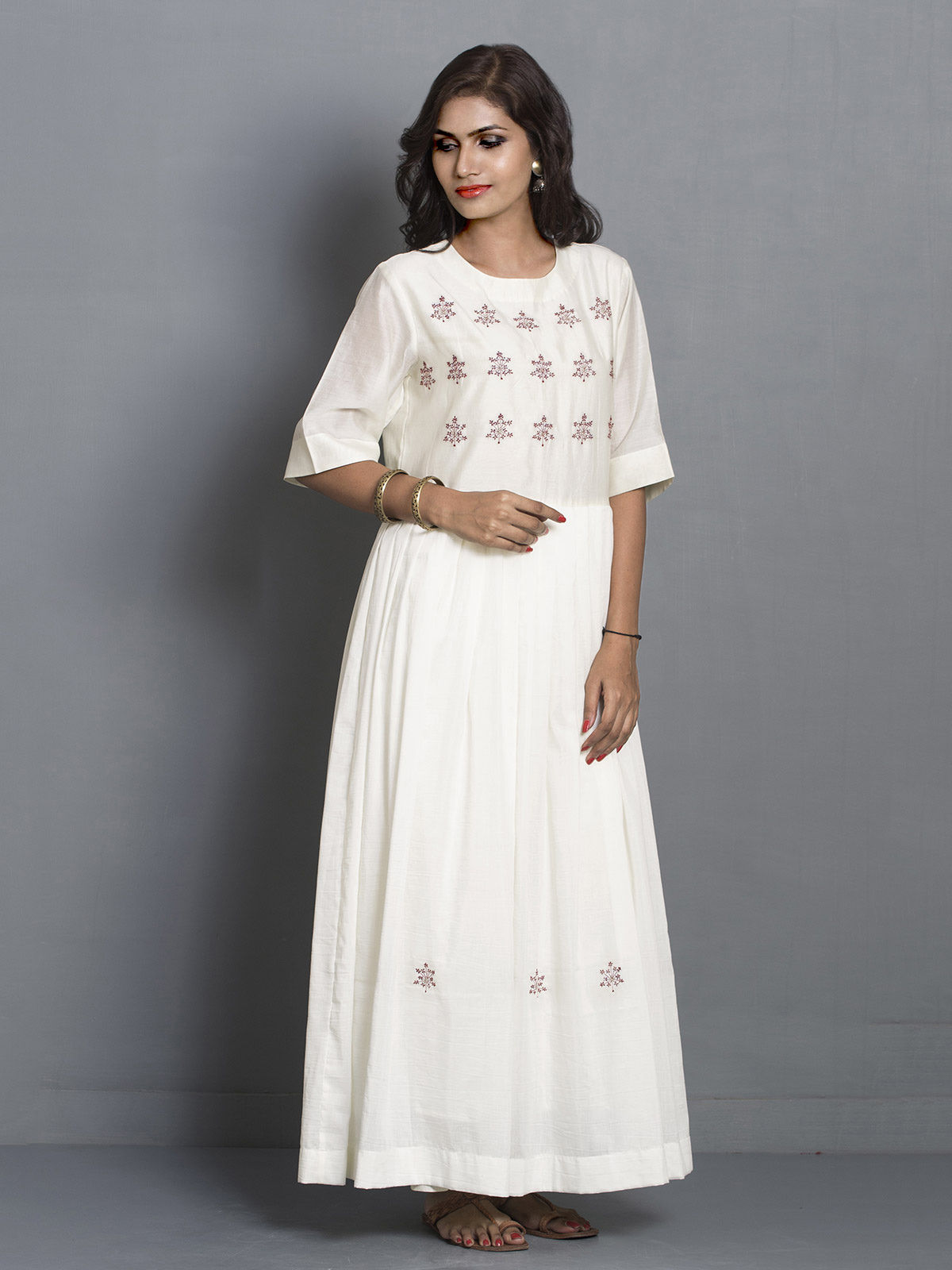 White Long Flared Chanderi Tunic with Embroidered Motifs
