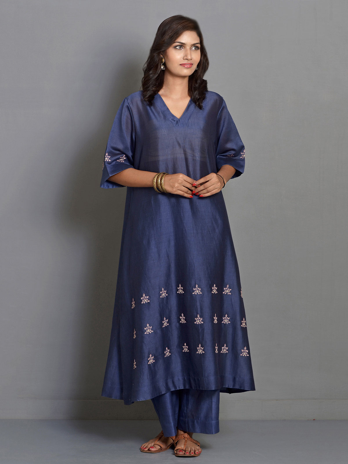 Blue A-line Flared Chanderi Kurta with Embroidered Motifs