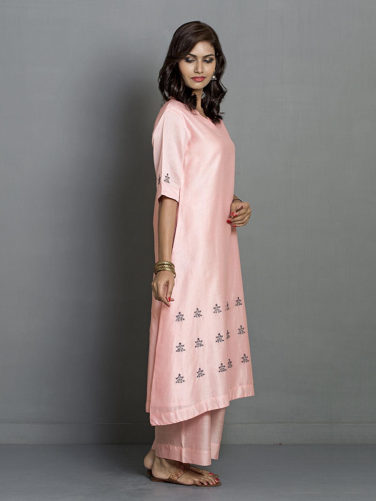 Peach A-line Flared Chanderi Kurta with Embroidered Motifs