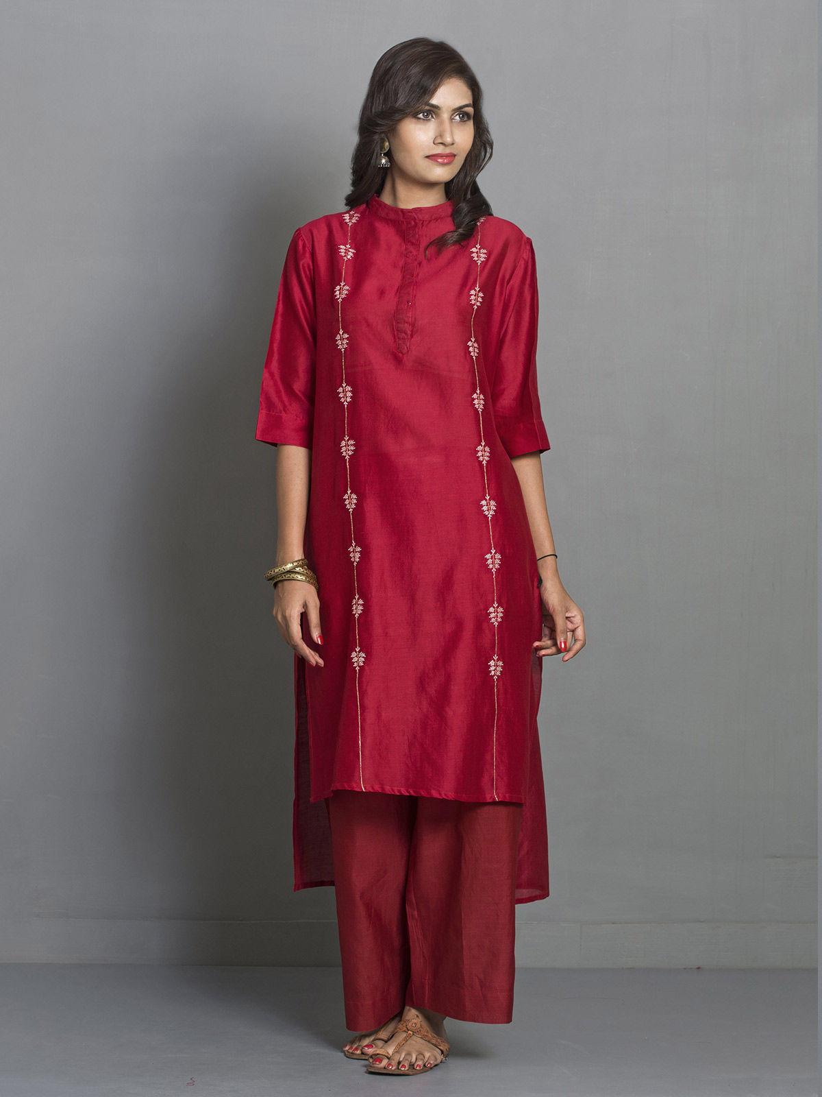 Red Straight Asymmetric Chanderi Kurta with Embroidered Motifs