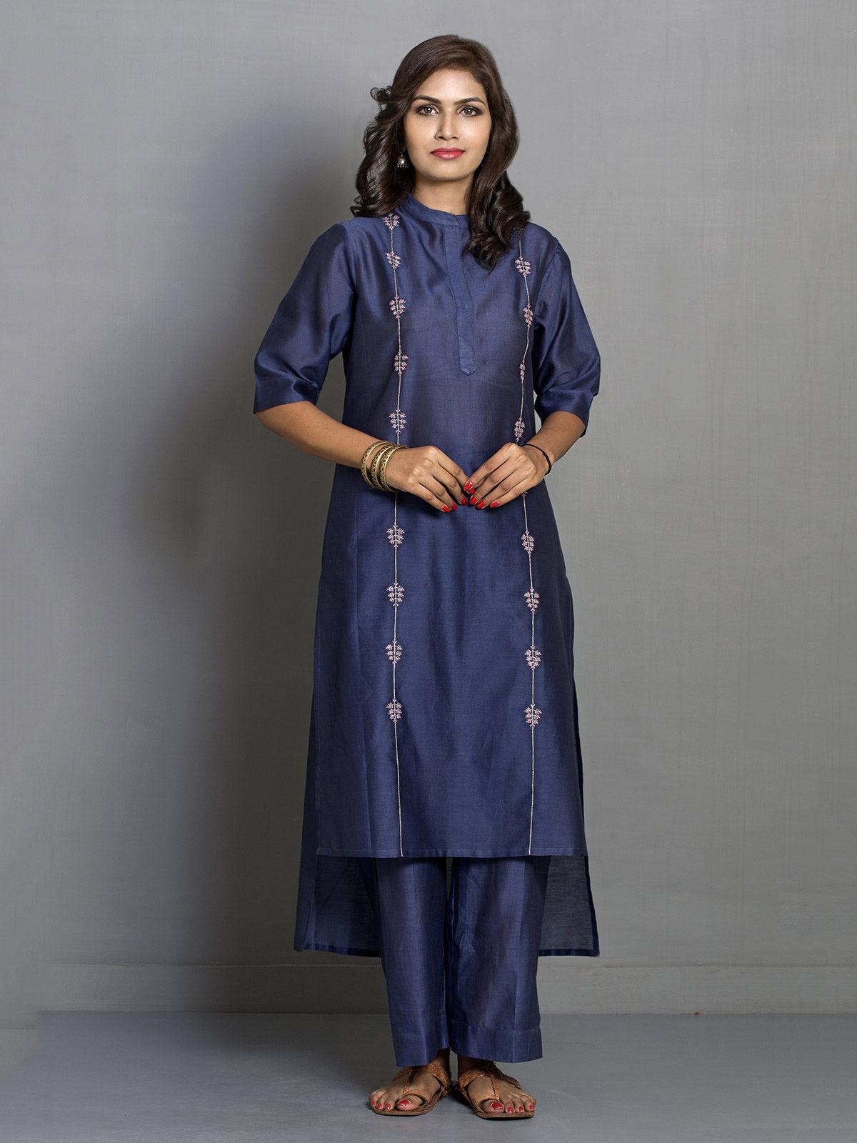 Blue Straight Asymmetric Chanderi Kurta with Embroidered Motifs