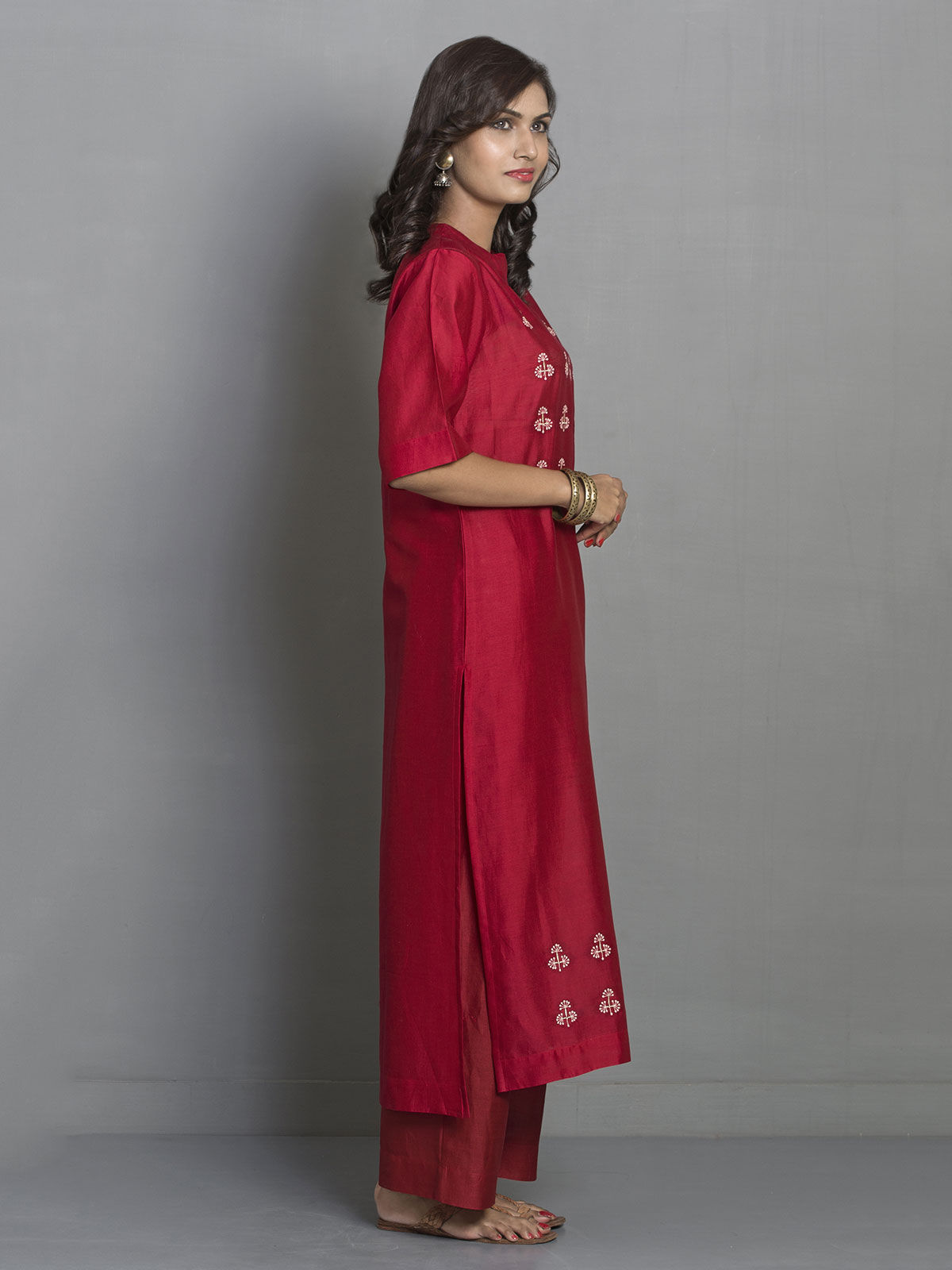 Red Straight Long Chanderi Kurta with Embroidered Motifs