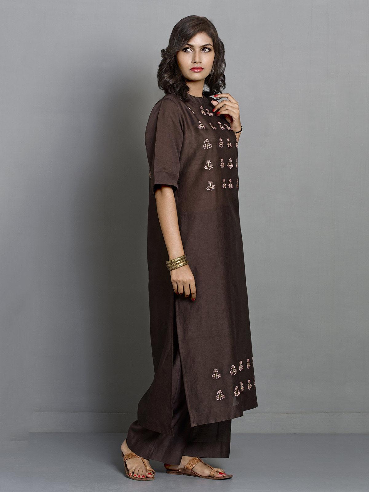 Chocolate Brown Straight Long Chanderi Kurta with Embroidered Motifs