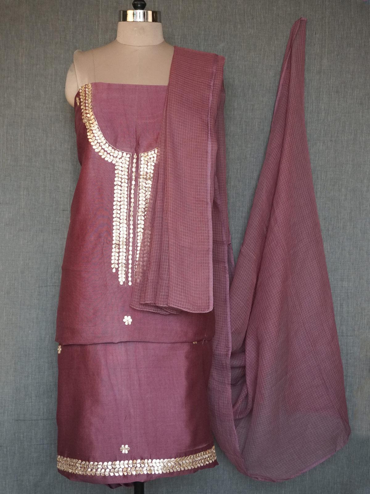 purple chanderi dress material with gota patti work and kota cotton dupatta