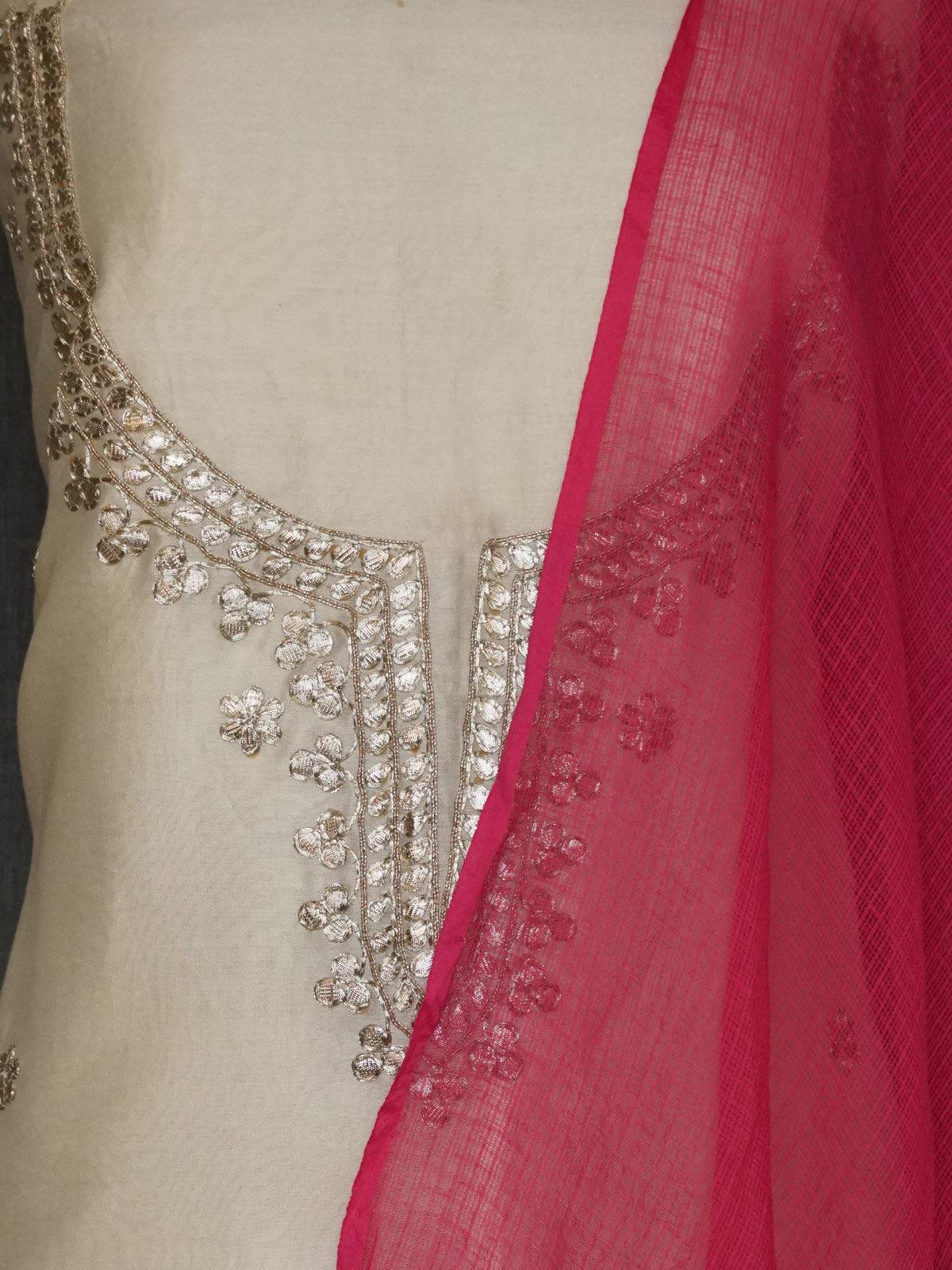 off white  chanderi dress material with gota patti work and red kota cotton dupatta