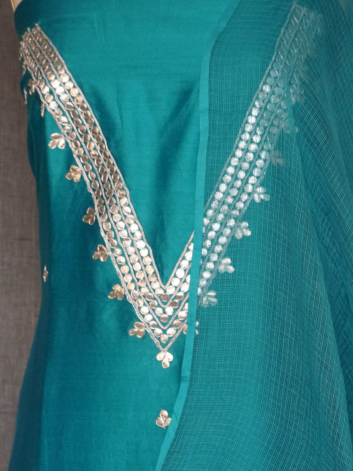 Turquoise chanderi dress material with gota patti work and kota cotton dupatta