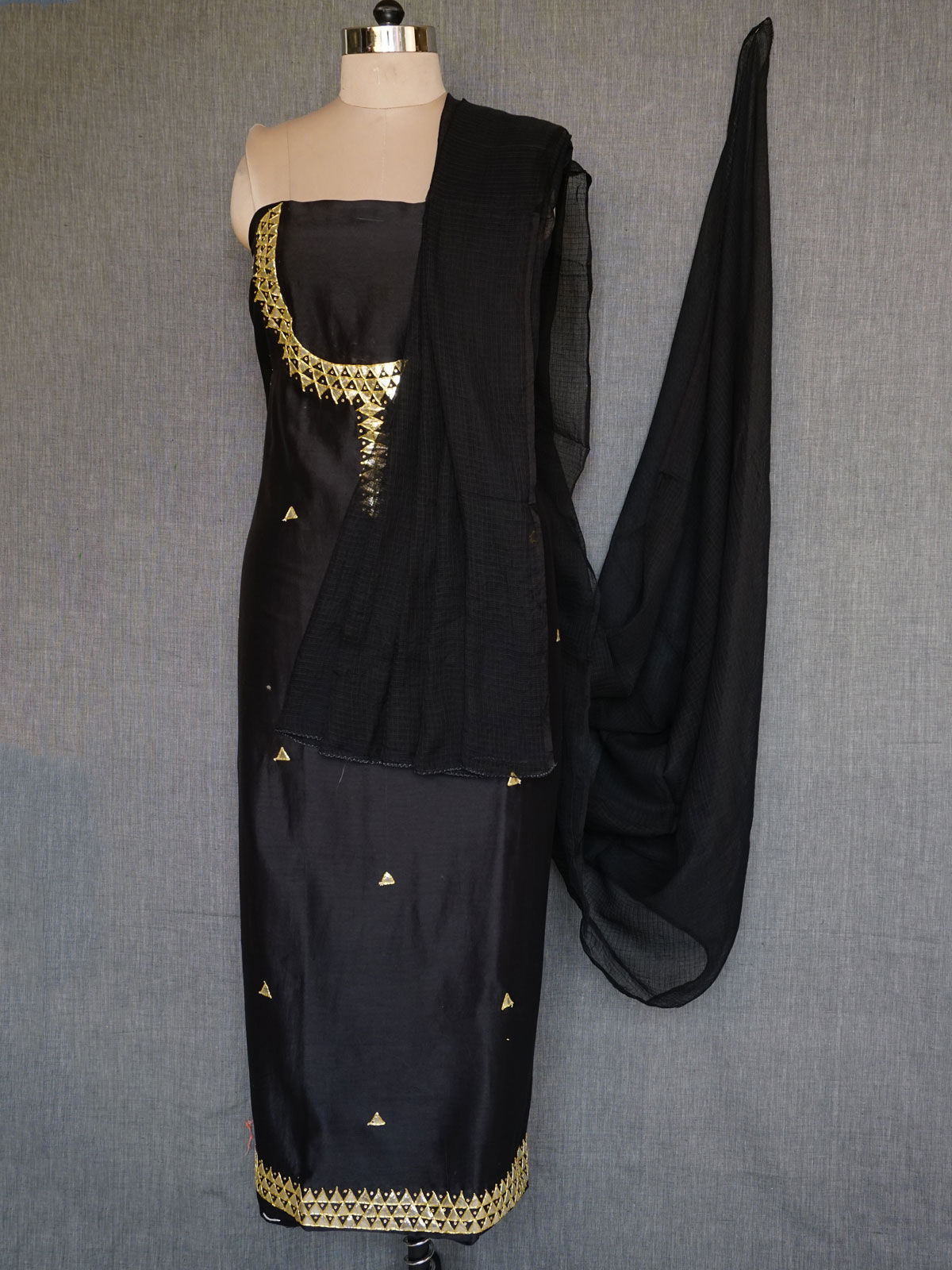 Black chanderi dress material with gota patti work and kota cotton dupatta