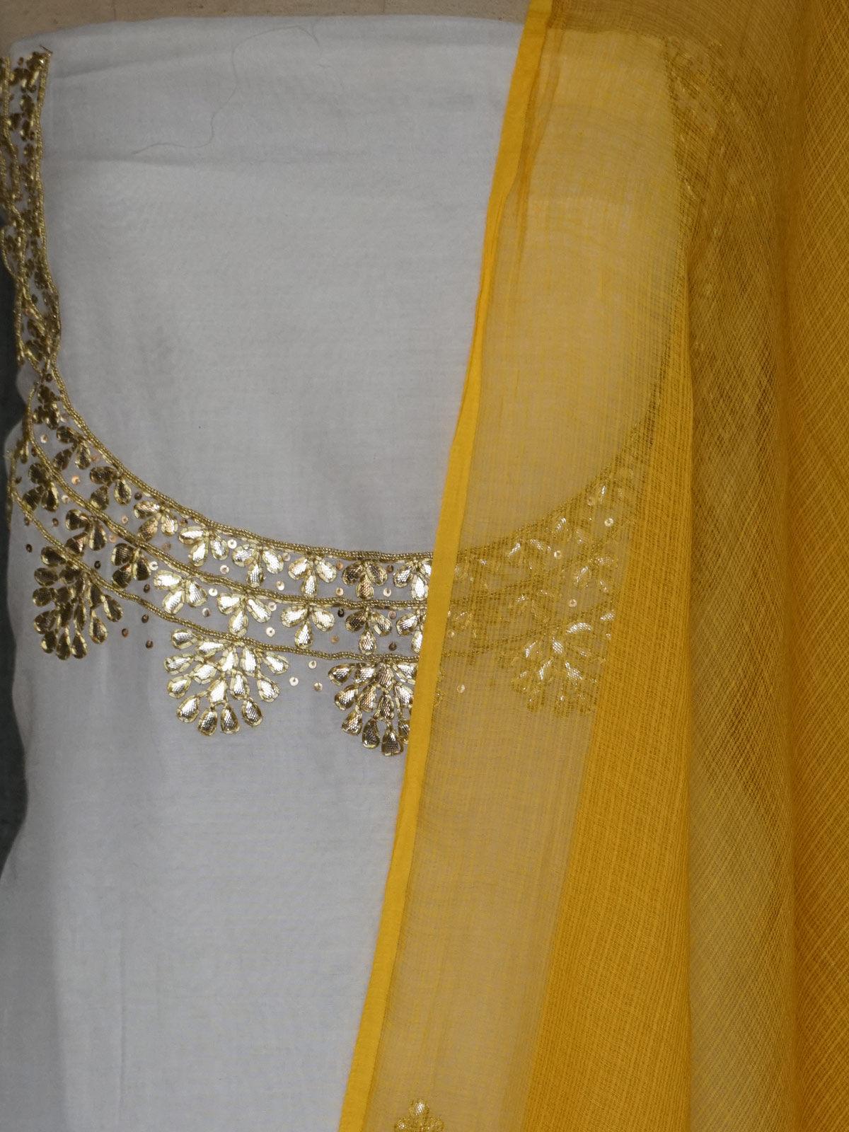 white cotton silk  dress material with gota patti work and yellow  kota cotton dupatta.