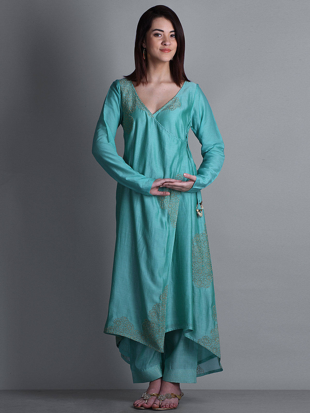 Sea green embroidered V- neck long chanderi kurta