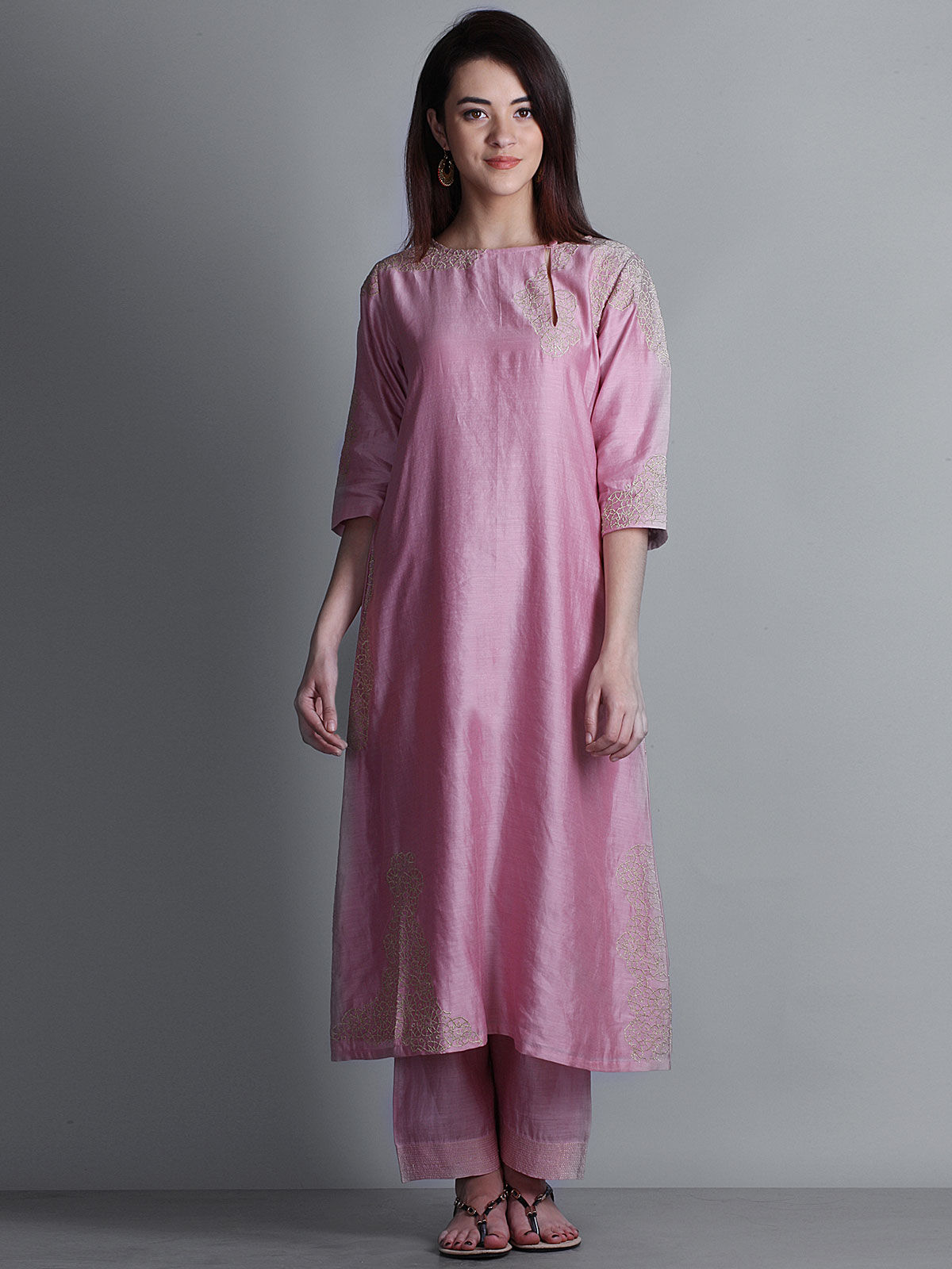 Pink embroidered boat neck long chanderi kurta