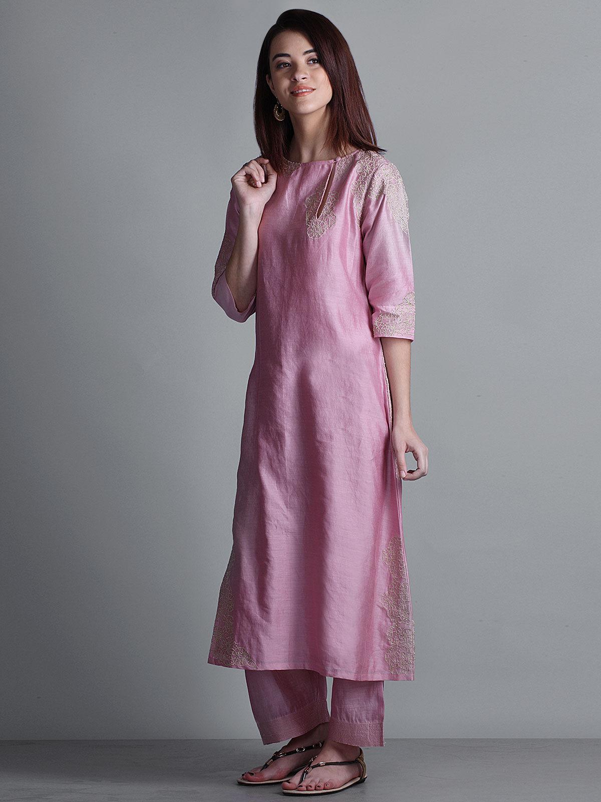 Pink embroidered boat neck long chanderi kurta