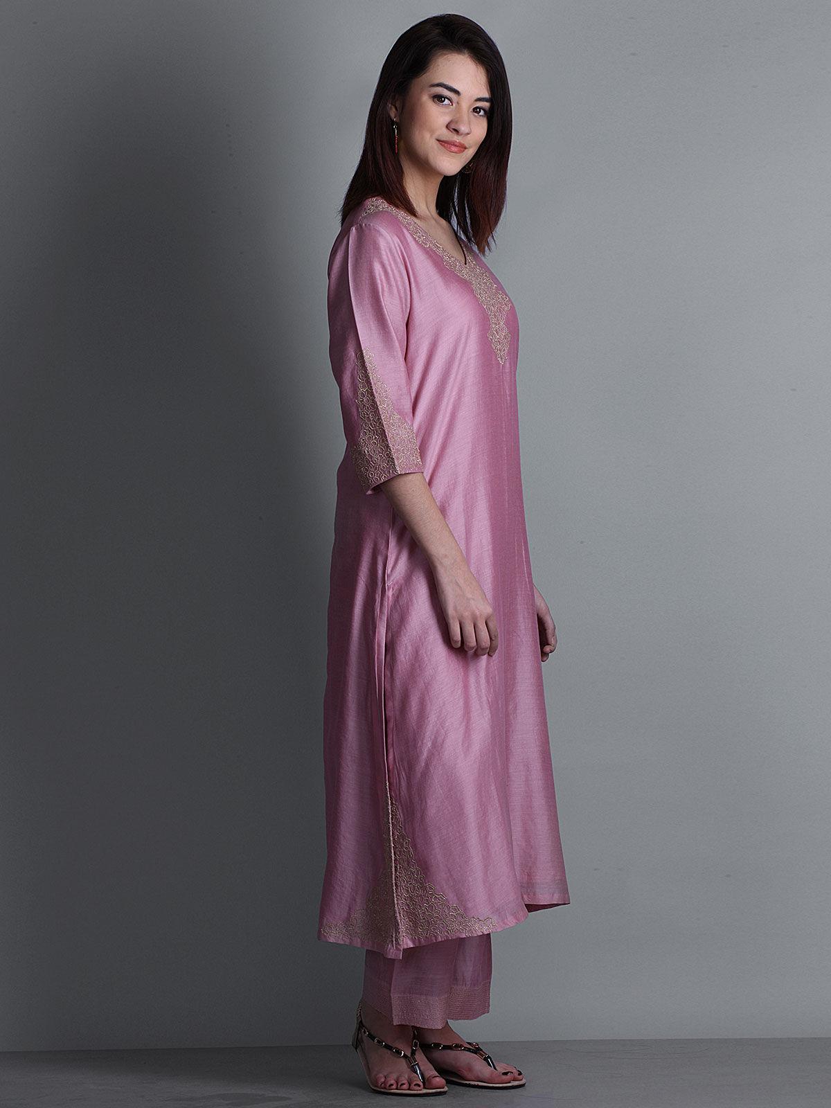 Pink embroidered V-neck long chanderi kurta