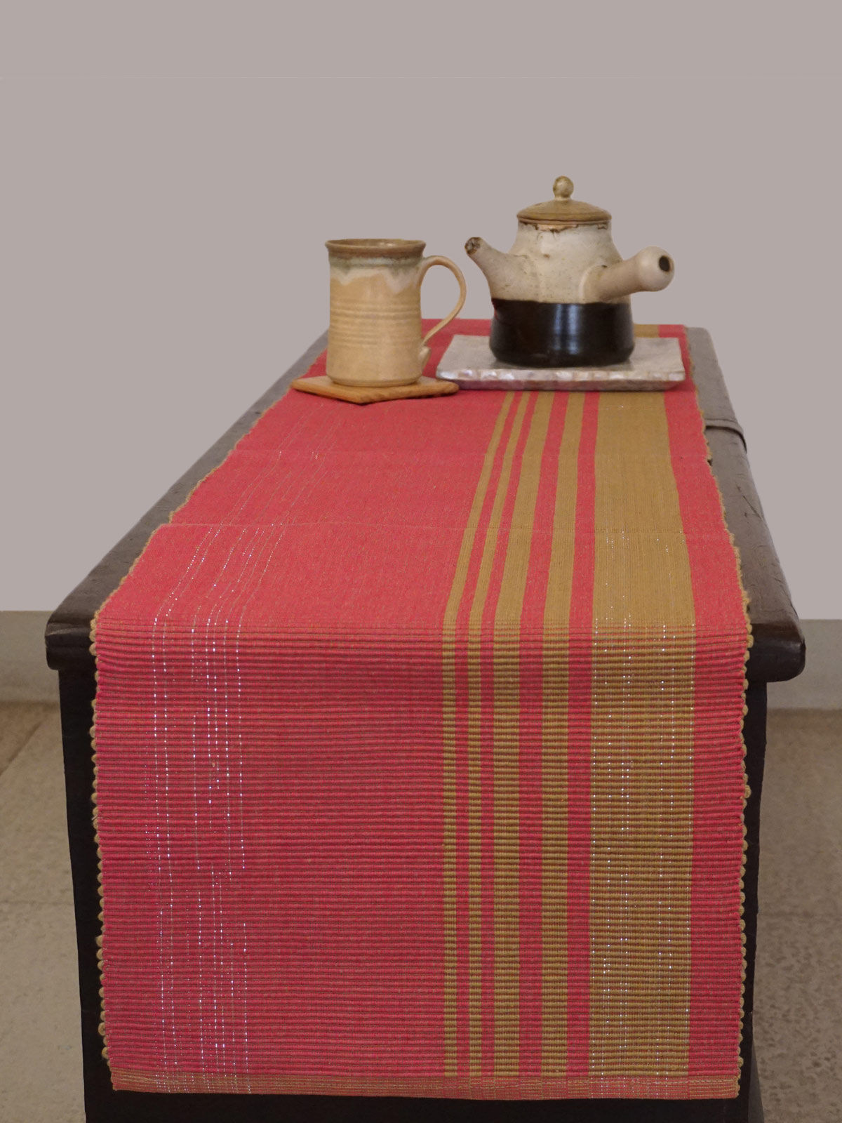 Indian August pink ribbed cotton table runner