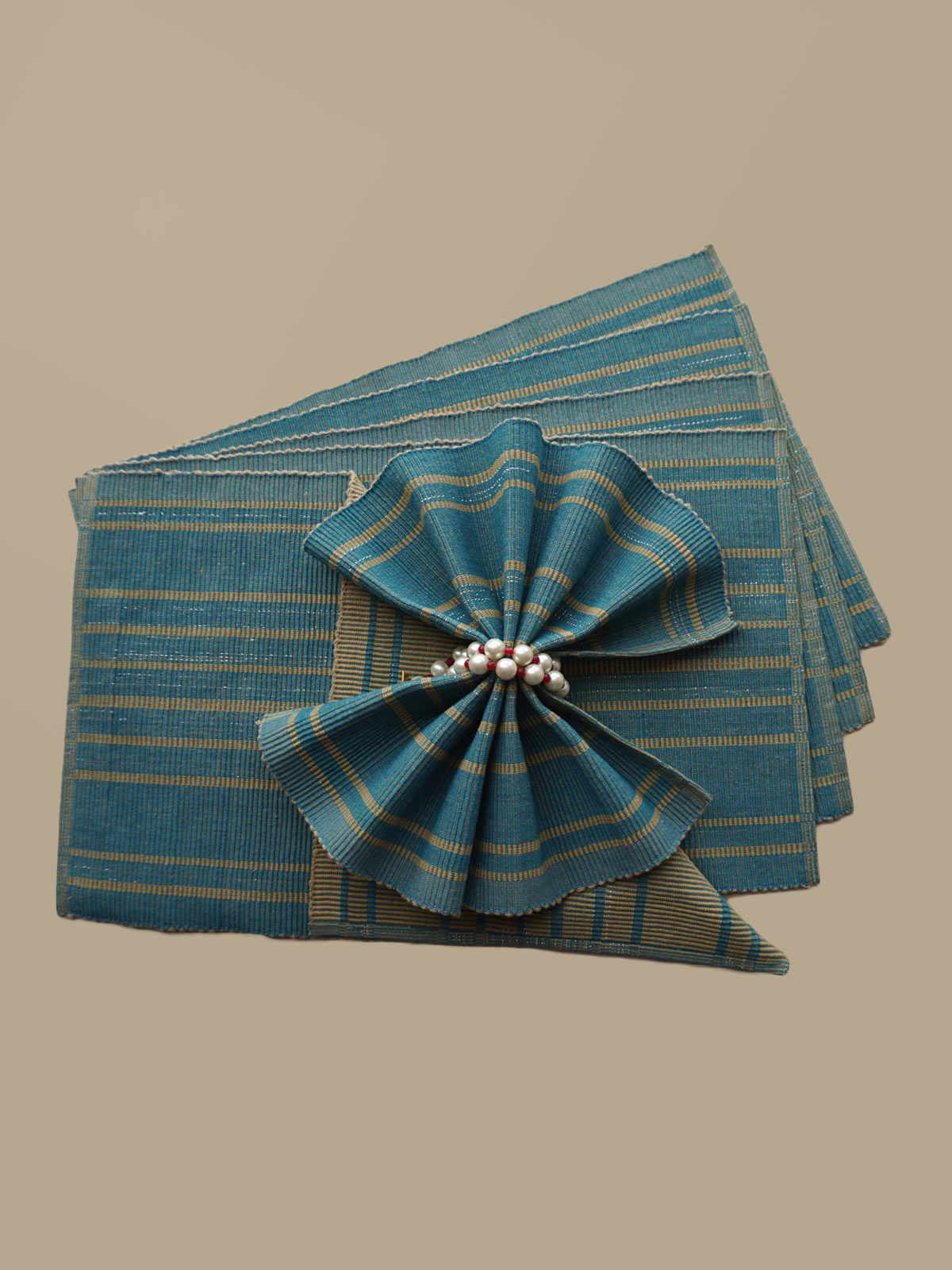 Indian August blue beige ribbed cotton table mats set of 6