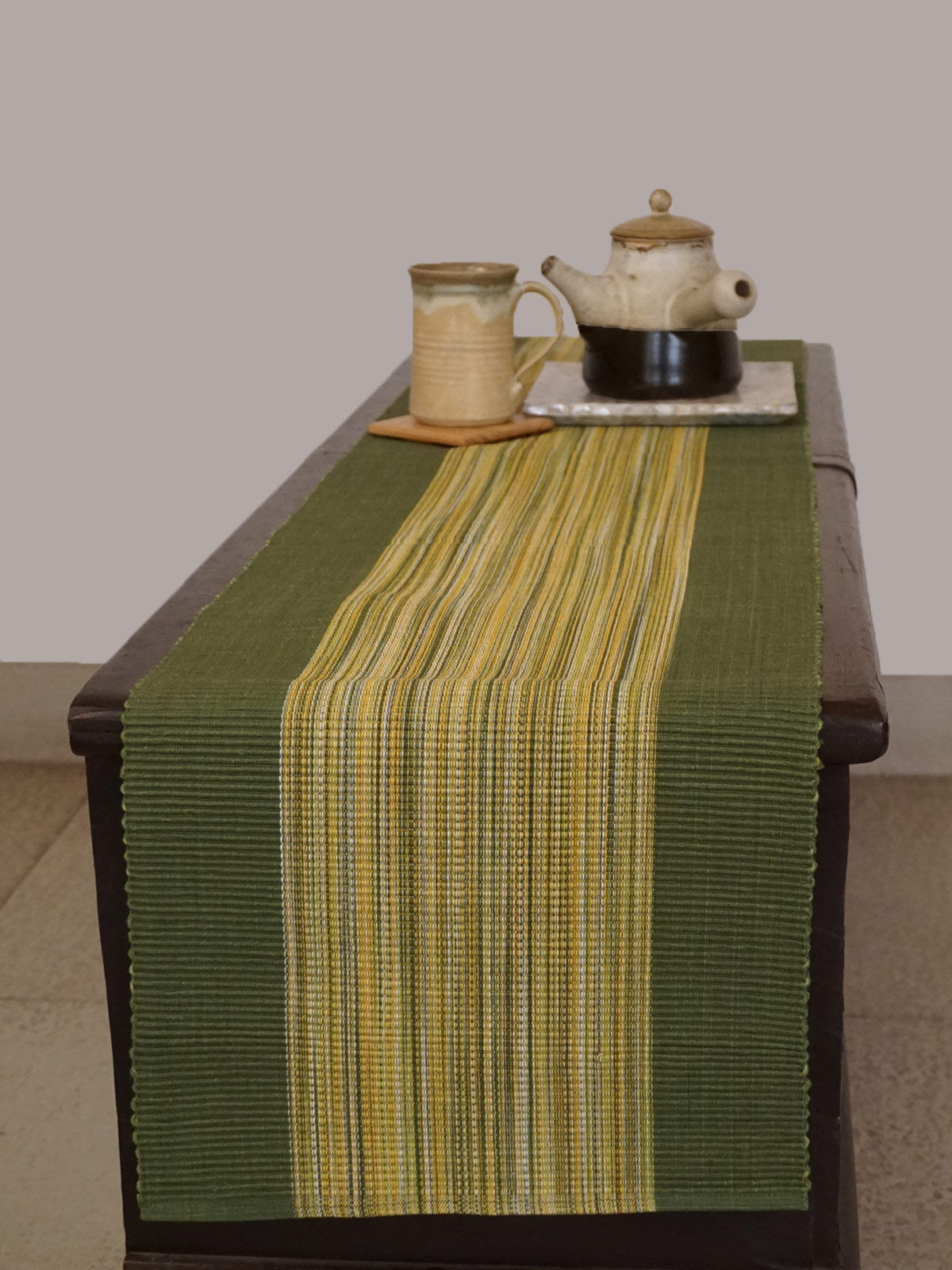 Indian August green yellow ribbed cotton table runner