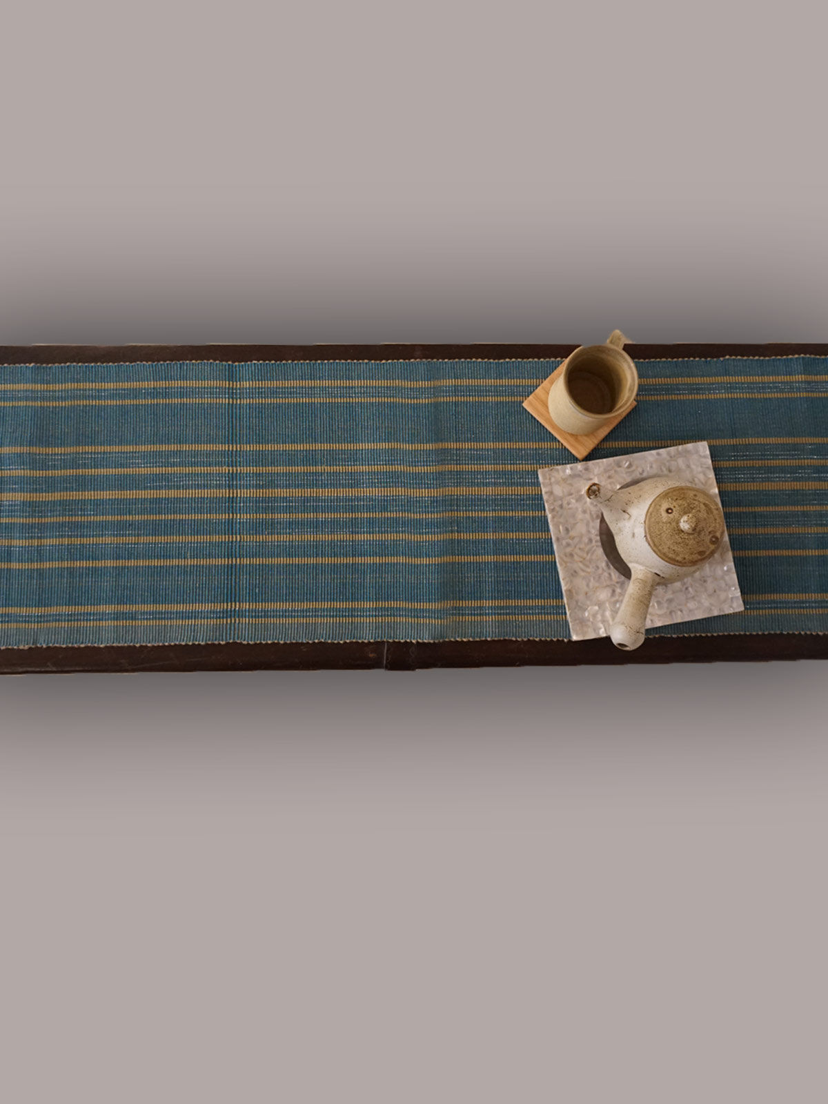 Indian August firozi  ribbed cotton table runner