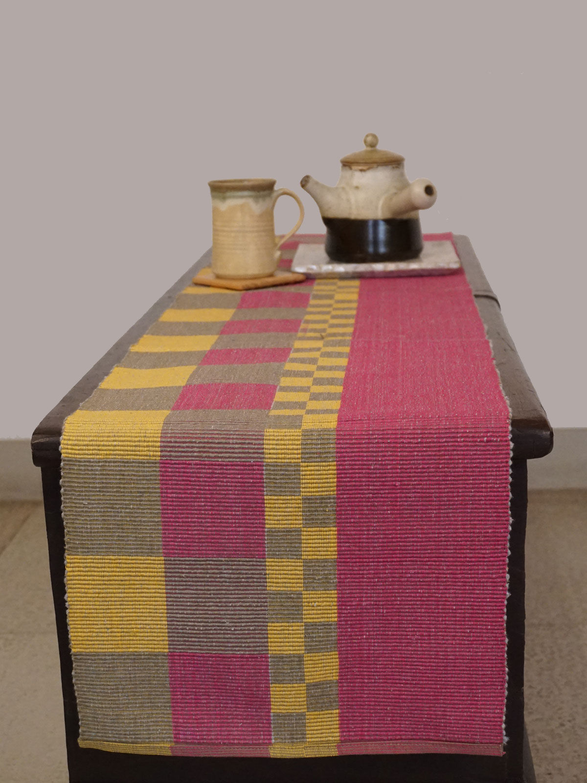 Indian August pink yellow ribbed cotton table runner