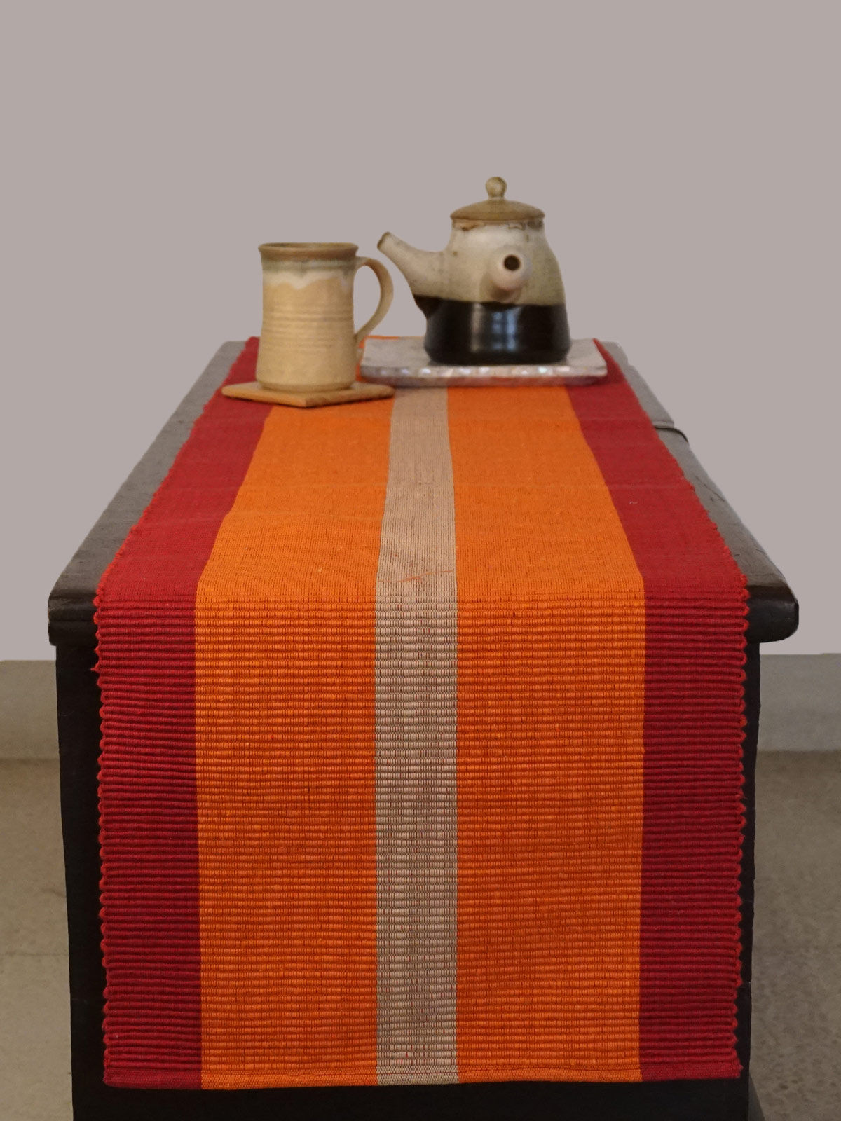 Indian August yellow multicolored ribbed cotton table runner