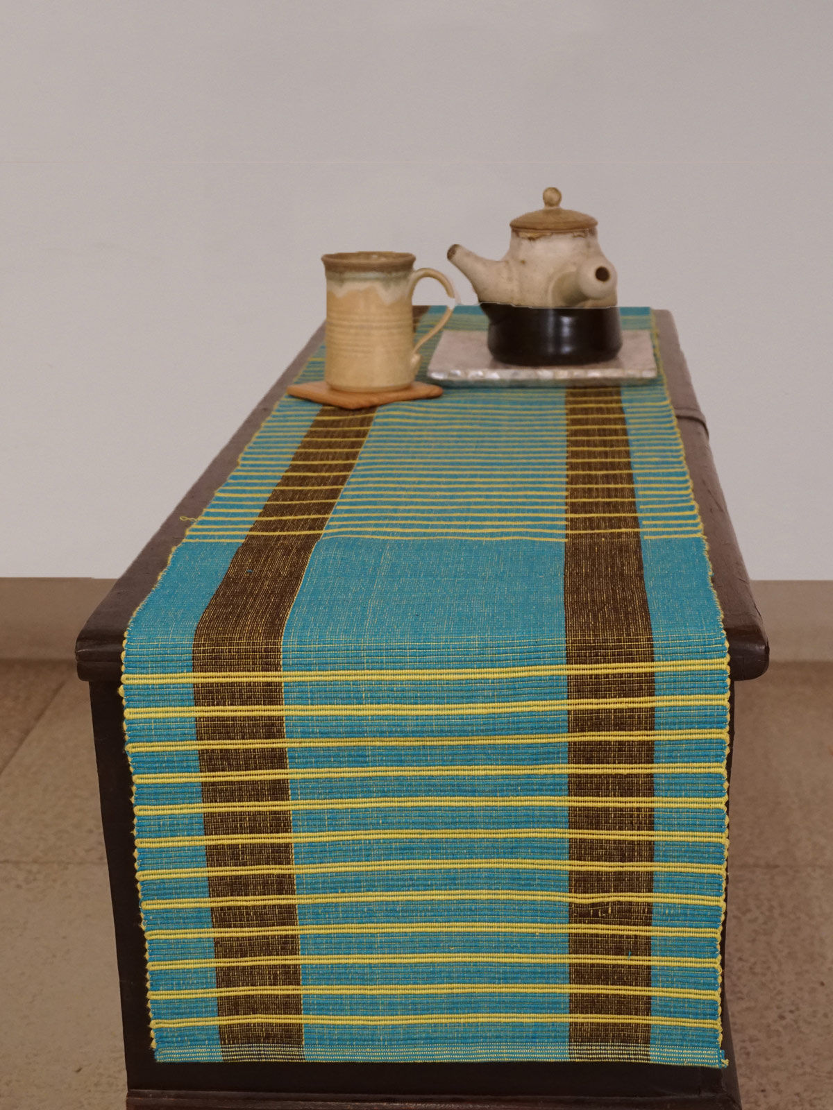 Indian August firozi yellowribbed cotton table runner