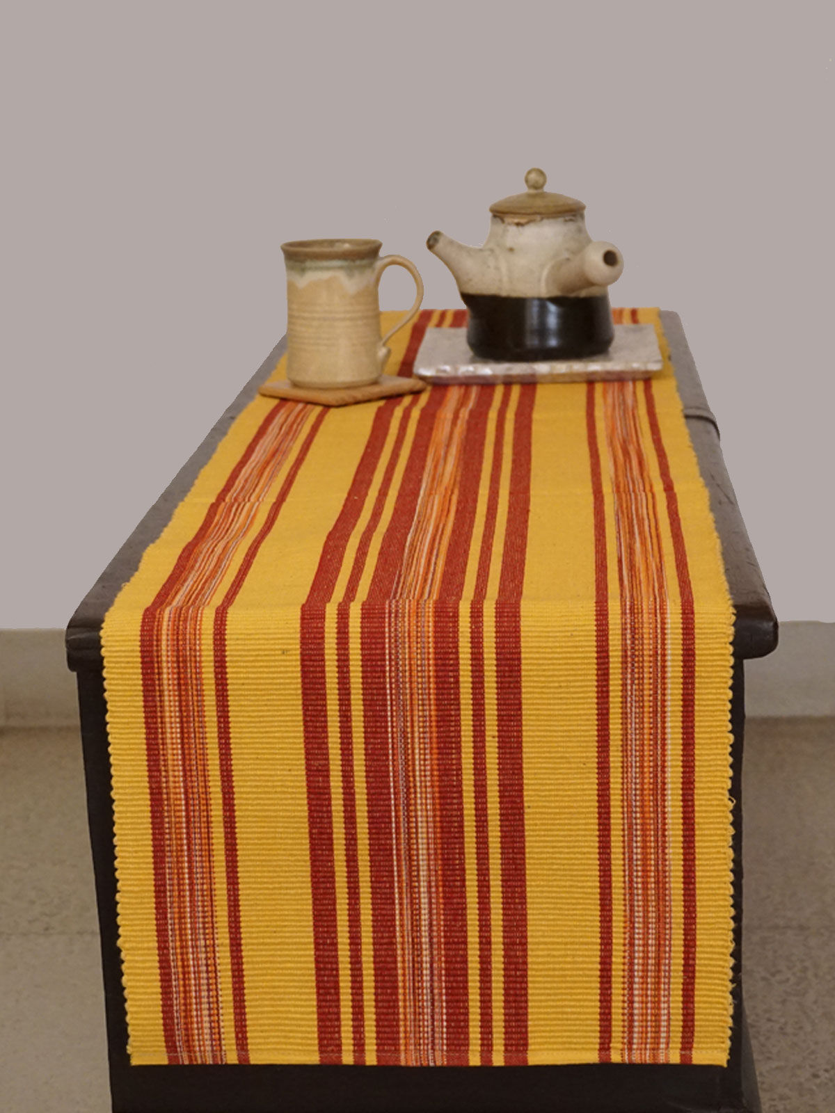Indian August yellow with red stripes ribbed cotton table runner