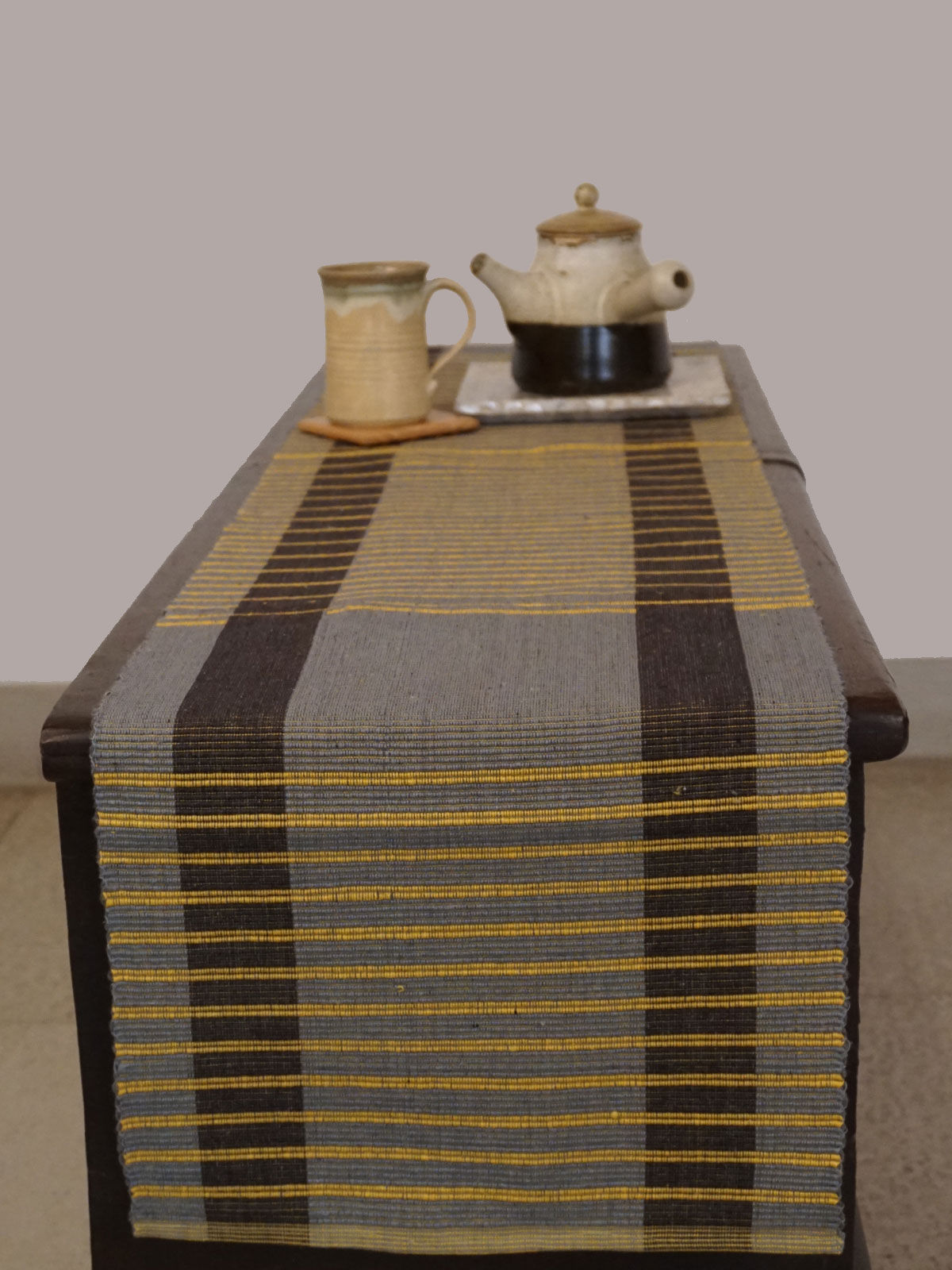 Indian August grey yellow lines pattern ribbed cotton table runner