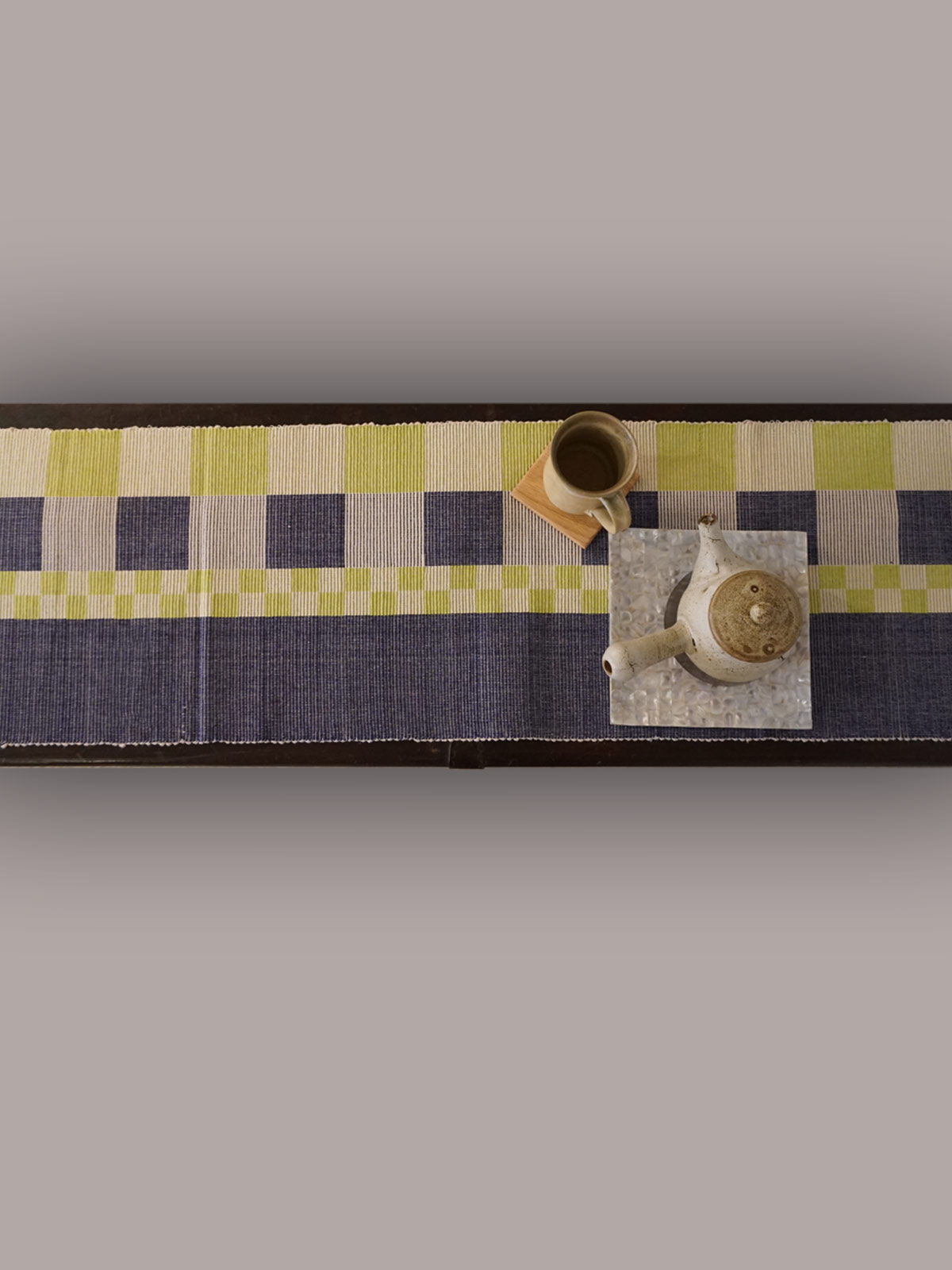 Indian August indigo green ribbed cotton table runner