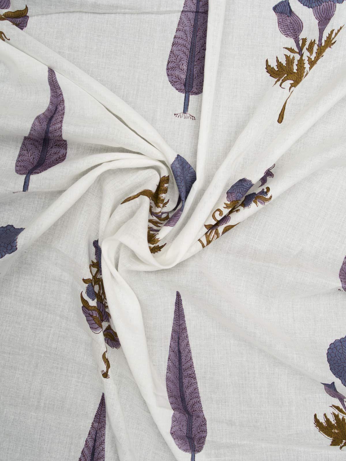 Leaf & flower motif block printed mul cotton fabric