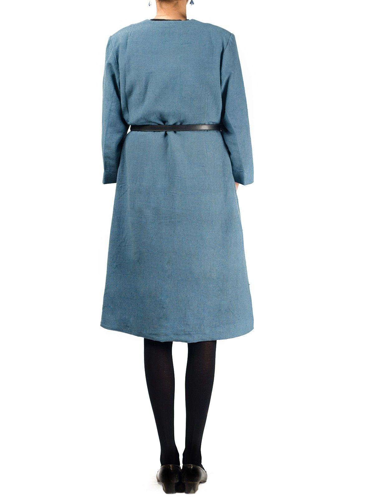 Grey noile silk full sleeves long winter jacket